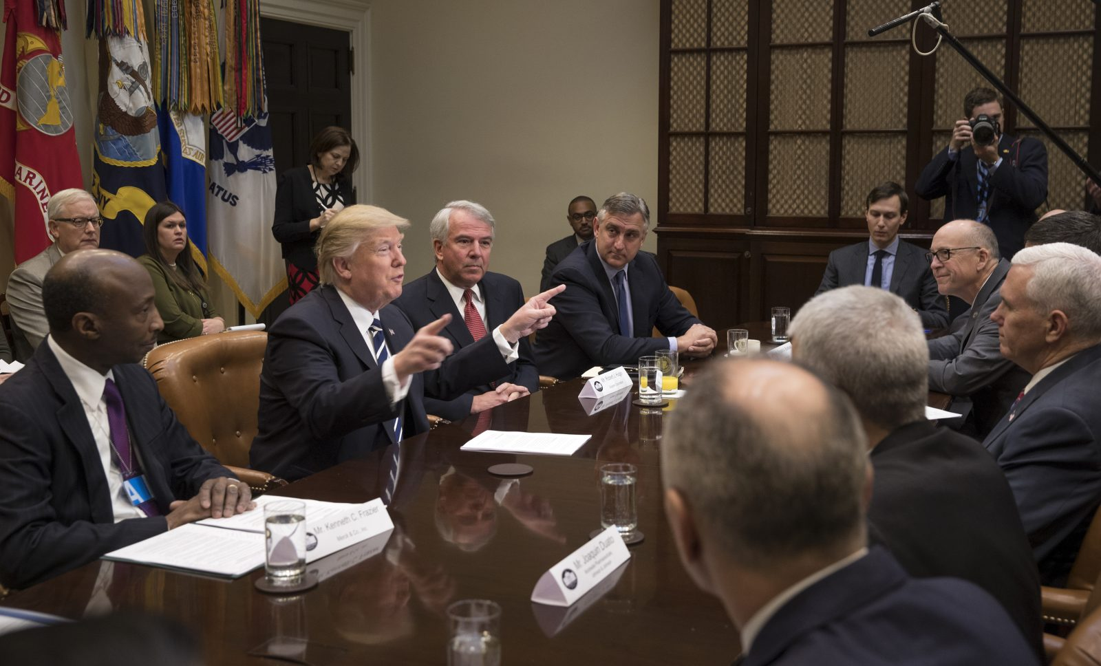 President Donald Trump during a meeting with pharmaceutical company executives in the Roosevelt Room of the White House in Washington, Jan. 31, 2017. From left: Kenneth Frazier; the chief executive of Merck & Co., Trump, and Robert Hugin; chief executive of Celgene. (Stephen Crowley/The New York Times)