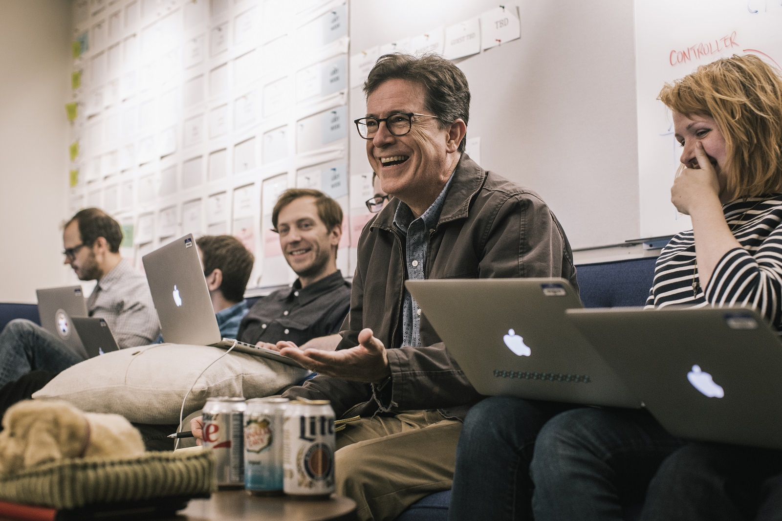 Stephen Colbert and the 'Late Show' writers watch the first debate between Hillary Clinton and Donald Trump. The Trump presidency has been a boon to Colbert's ratings. (Christopher Gregory/The New York Times)