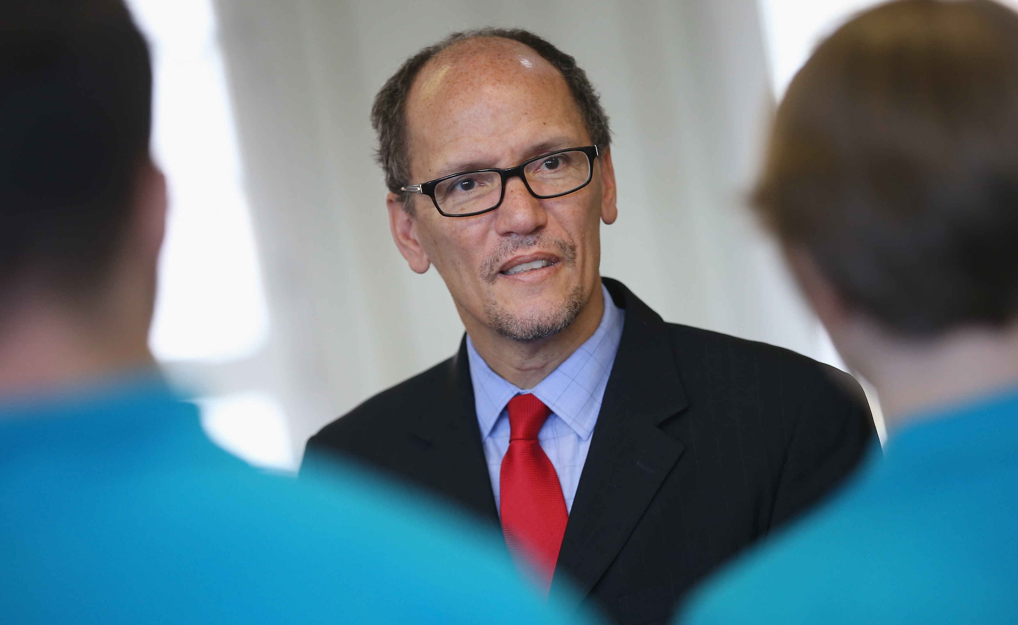 Former U.S. Labor Secretary Thomas E. Perez speaks to supporters of his bid for Democratic National Committee chairman in Baltimore on Saturday. (Getty Images file photo)