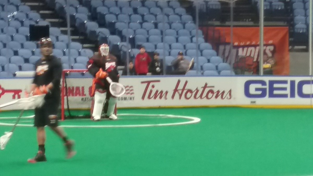 Say, who is that guy in the stands at the Bandits' morning practice? It's Mike Thompson, in town for tonight's alumni game. Thompson brought his three kids along for the game.