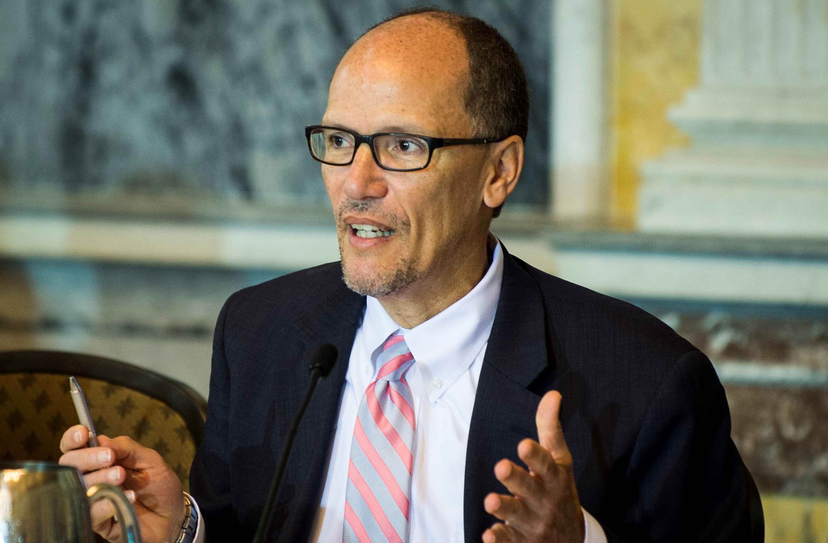 A former Labor secretary with strong connections in the union movement, Thomas E. Perez joined the race after the AFL-CIO and many other Democratic power players had already sided with Rep. Keith Ellison. (Getty Images)
