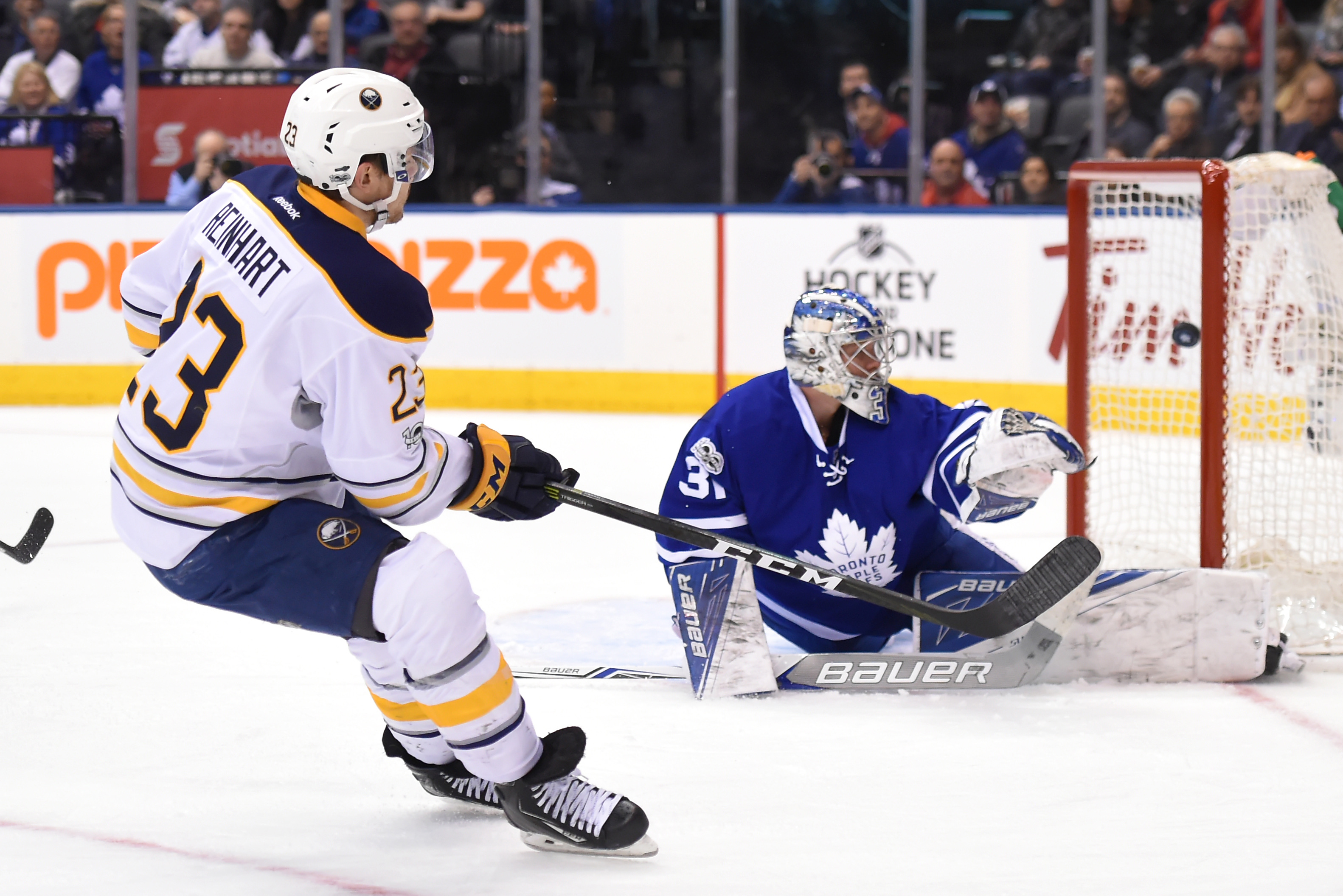 The Sabres' Sam Reinhart beats Toronto's Frederik Andersen for his 12th goal Saturday. (USA Today Sports)