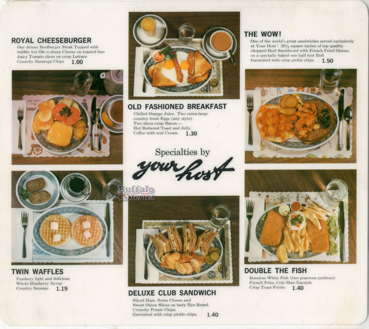 A menu from Your Host restaurants, which were a popular local chain. (Buffalo Stories archives)