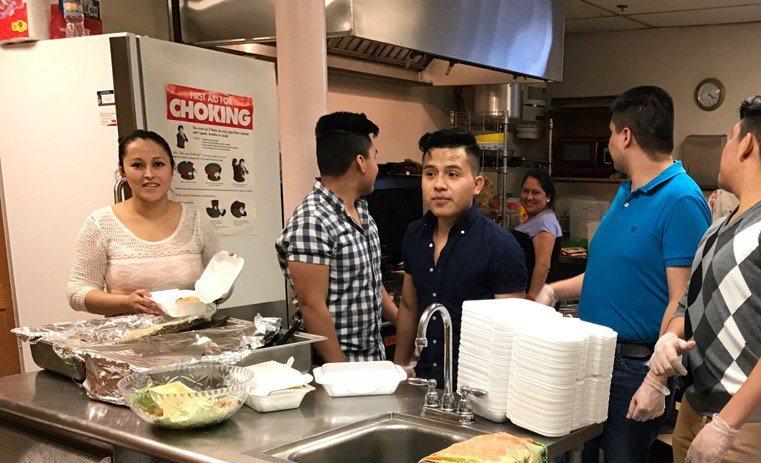The Pilgrim St. Luke's kitchen during the latest fundraising dinner for the #Buffalo25. (Matt Gryta/Buffalo News)