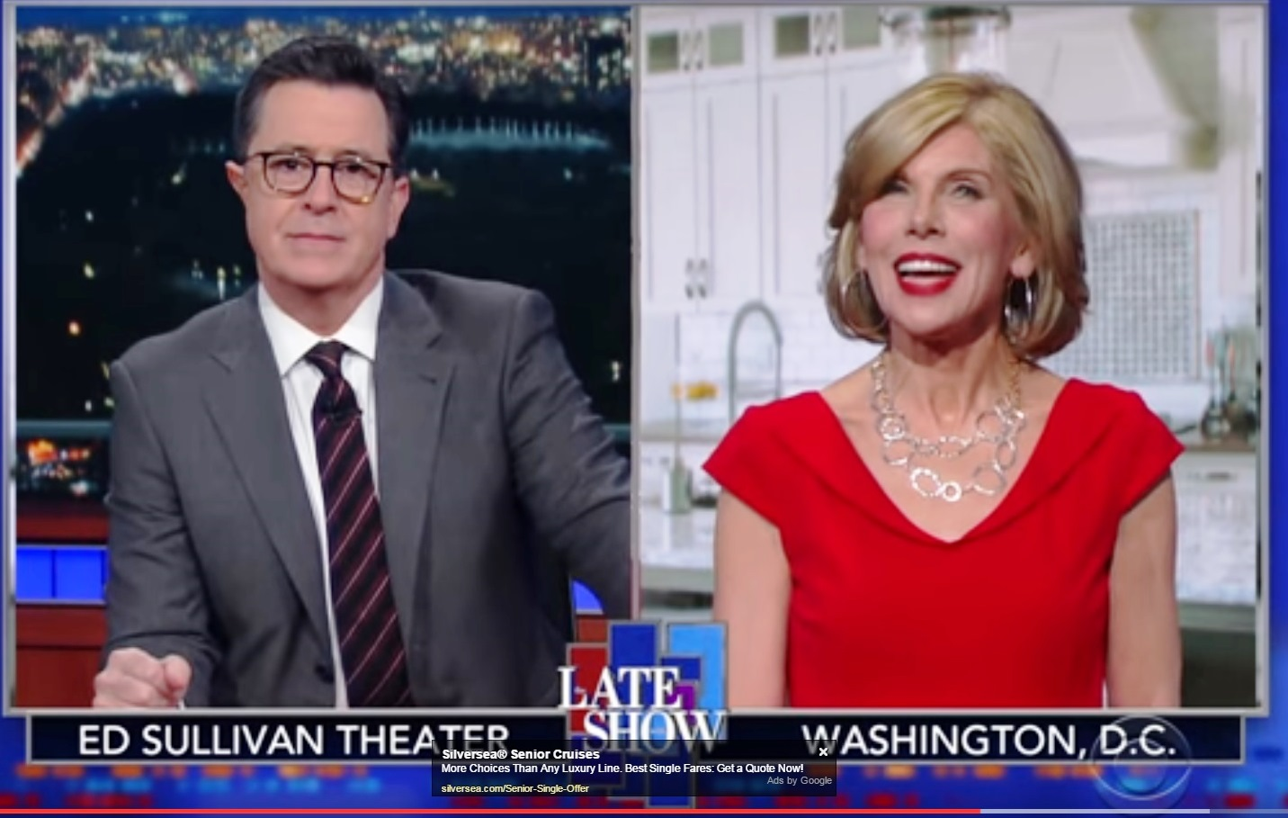 "Stephen Colbert and Christine Baranski attack Congressman Chris Collins and his wife on Tuesday night's ""The Late Show."" (Screenshot)"