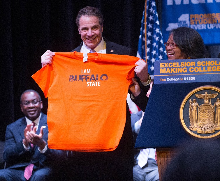 """Gov. Andrew Cuomo says economy """"will pass us by"""" if state does not go along with proposal for free SUNY tuition. (Derek Gee/Buffalo News)"""