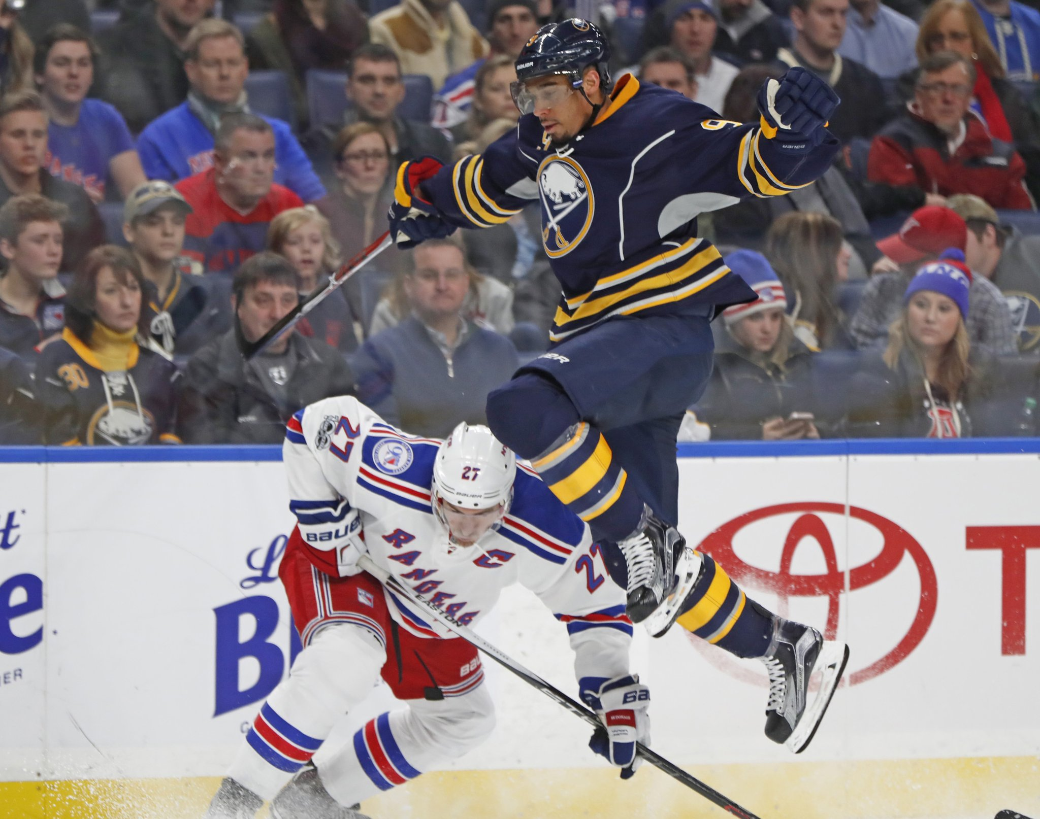 Evander Kane shoots a lot, and the majority are from within 35 feet. (Harry Scull Jr./Buffalo News)