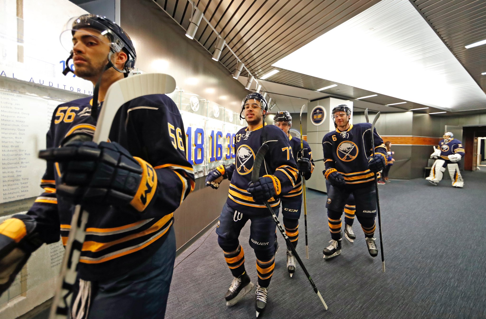 From left, Justin Bailey, Nick Baptiste and Evan Rodrigues shined during their latest recalls. (Harry Scull Jr./Buffalo News)