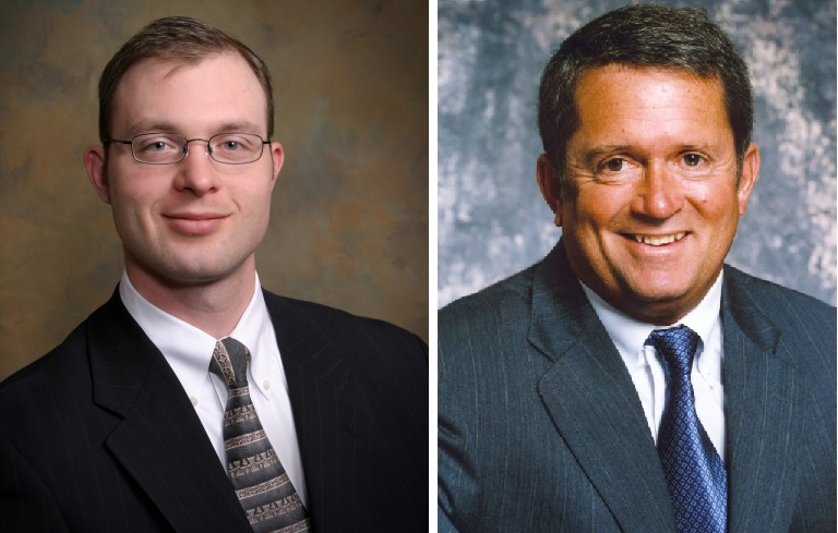 Lancaster Town Justice Jeremy A. Colby, left, and Clarence Town Justice Michael B. Powers, right.