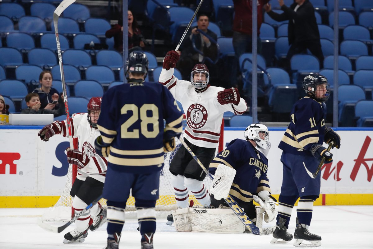 Jack Lalley celebrates after scoring during the first period for St. Joe's in a 4-0 win over Canisius in the Niagara Cup title game at KeyBank Center. (Harry Scull Jr./Buffalo News)