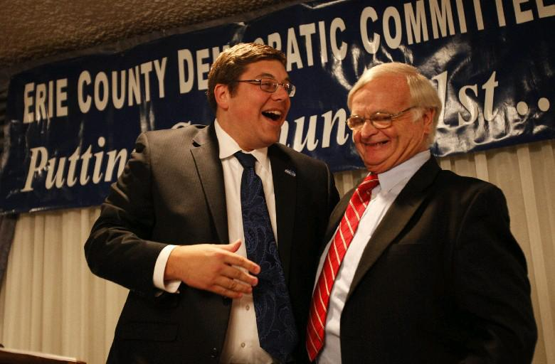 Leonard R. Lenihan, right, is stepping down as elections commissioner, to be replaced by county Democratic Chairman Jeremy Zellner. (Derek Gee/Buffalo News file photo)