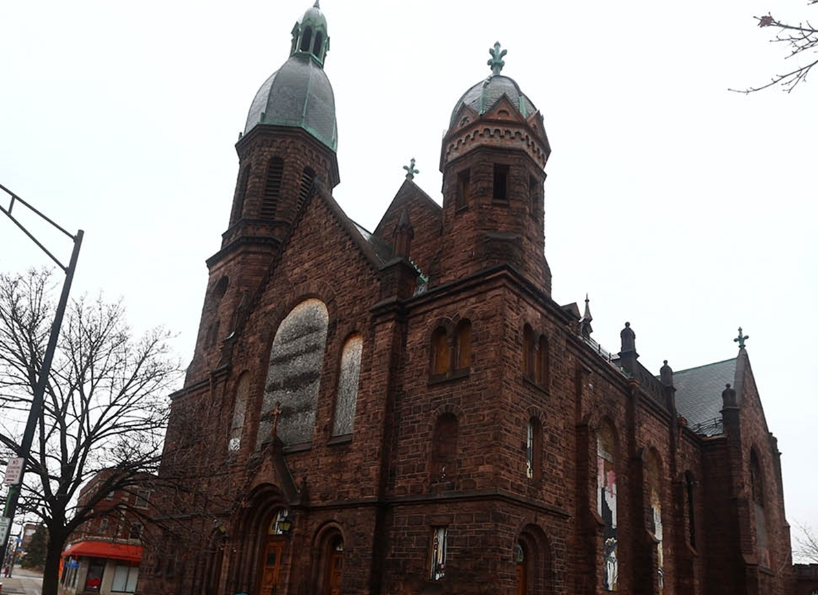 "The ""new"" French Catholic Church was built at the corner of Main and Best streets by the congregation of the old St. Peter's Church. It was dedicated in 1898. (John Hickey/News file photo)"