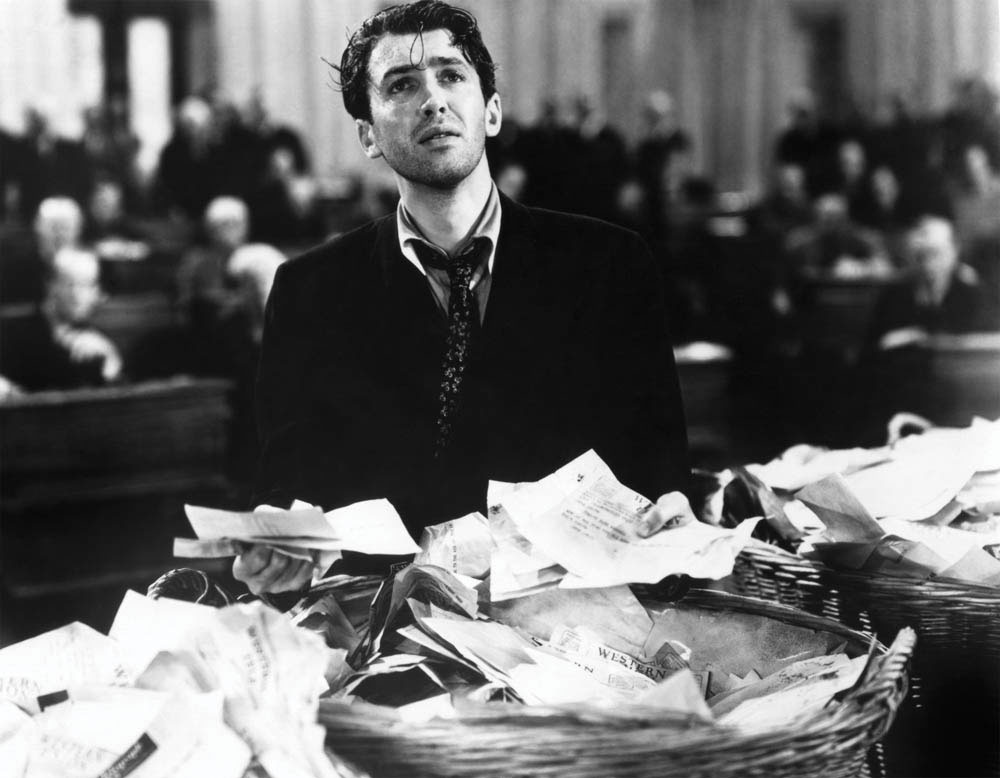 Jimmy Stewart gives it his all in a filibuster against corruption in the 1939 classic 'Mr. Smith Goes to Washington.'
