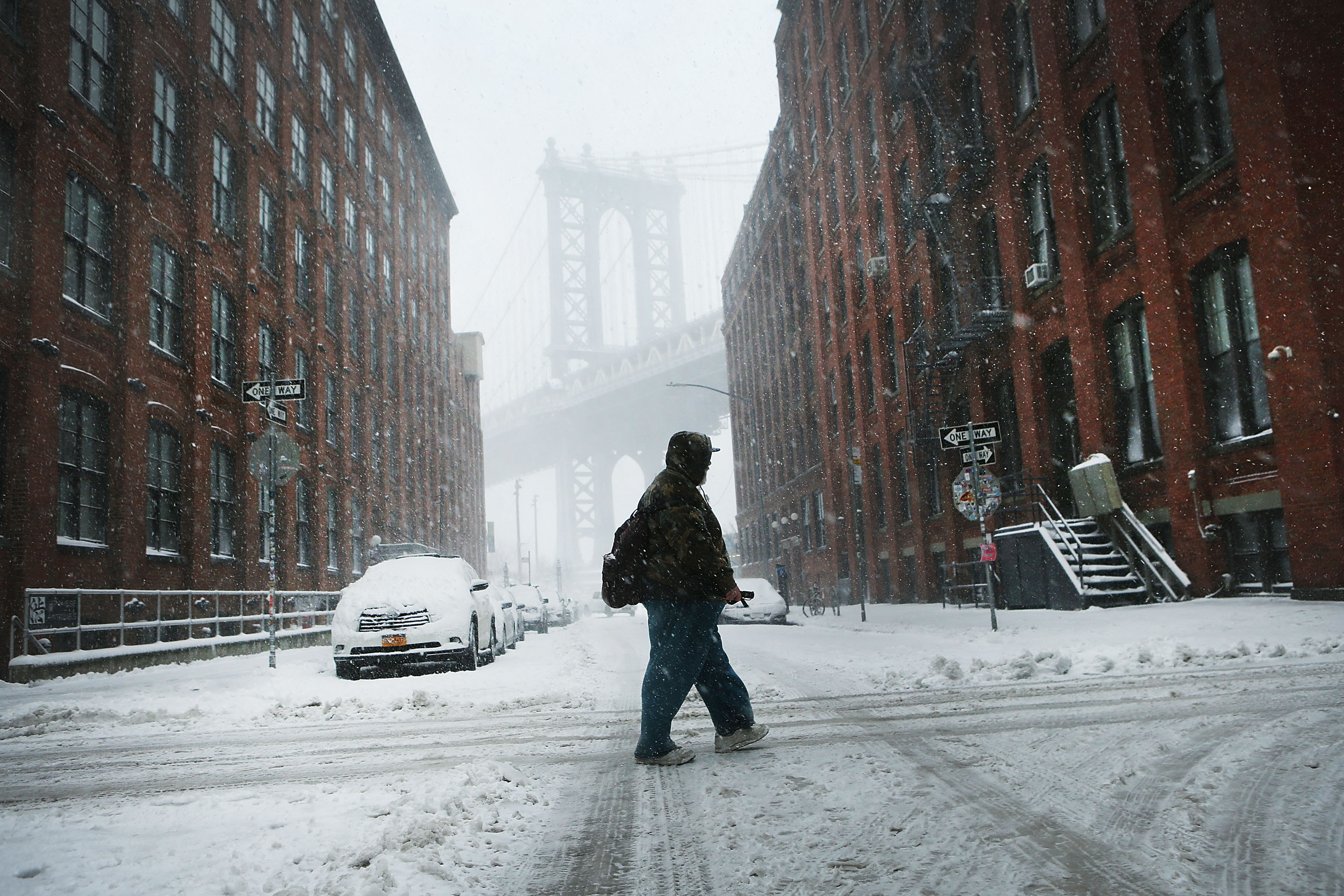 A pedestrian makes his way through the snow and wind  during a storm on Feb. 9, 2017 in the Brooklyn borough of New York City. (Getty Images)