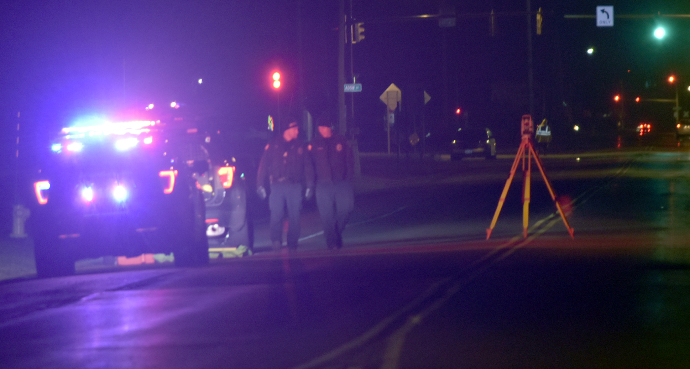Police at the scene of Monday night fatal on Erie Avenue in North Tonawanda. (Larry Kensinger/Special to The Buffalo News)