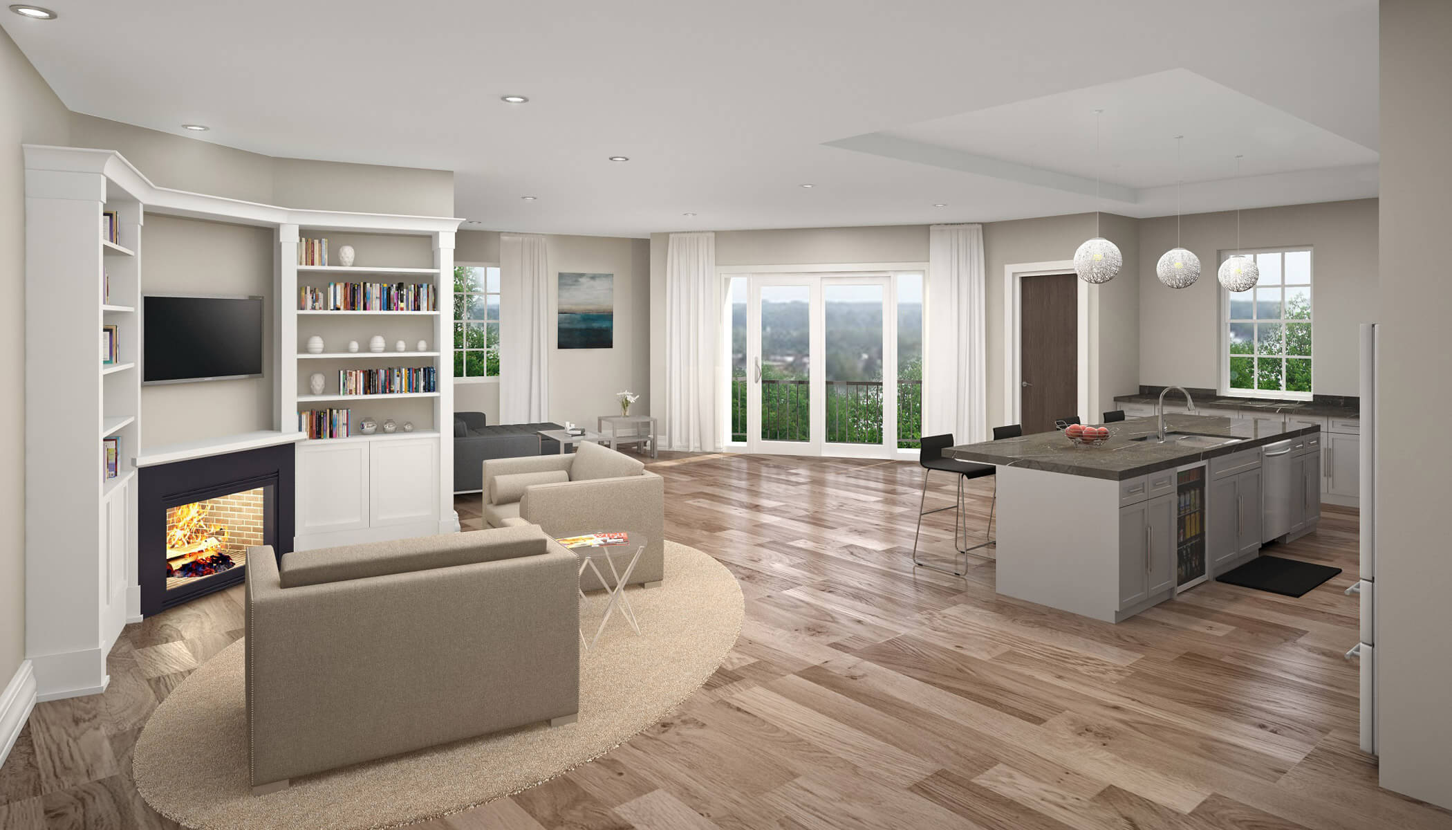 Here is a rendering of a view of an interior of Bevilacqua Development's Lymstone Lofts luxury apartments on the Amherst-Williamsville border. The first tenants are set to move in next week.