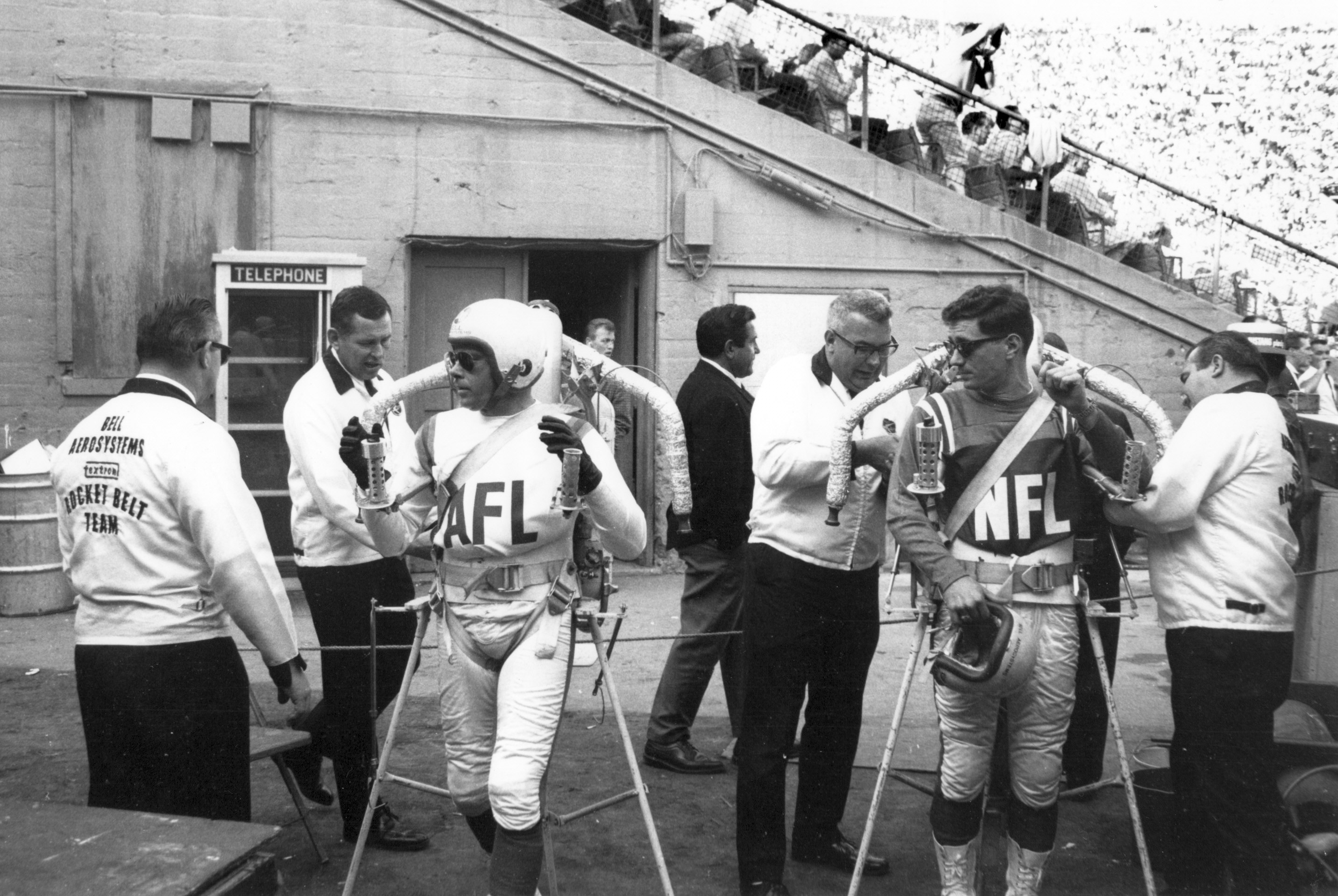 William Suitor of Youngstown, right, with Robert Courter, left, flew rocket belts at the first Super Bowl in 1967. (Photo provided by William Suitor)