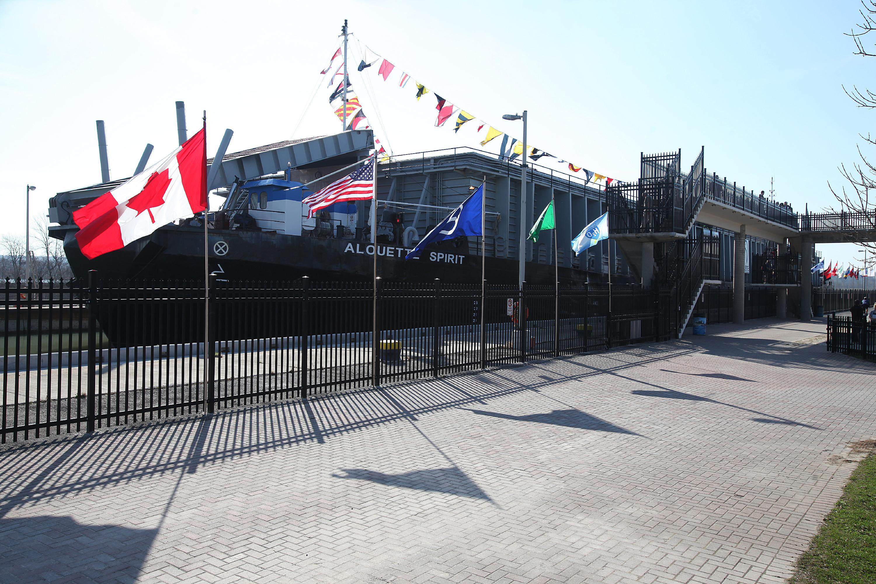 """The barge Alouette Spirit, at the Welland Canals Centre, Lock 3, in St. Catharines, Ont., received """"top hat"""" honors in 2012. (Buffalo News file photo)"""