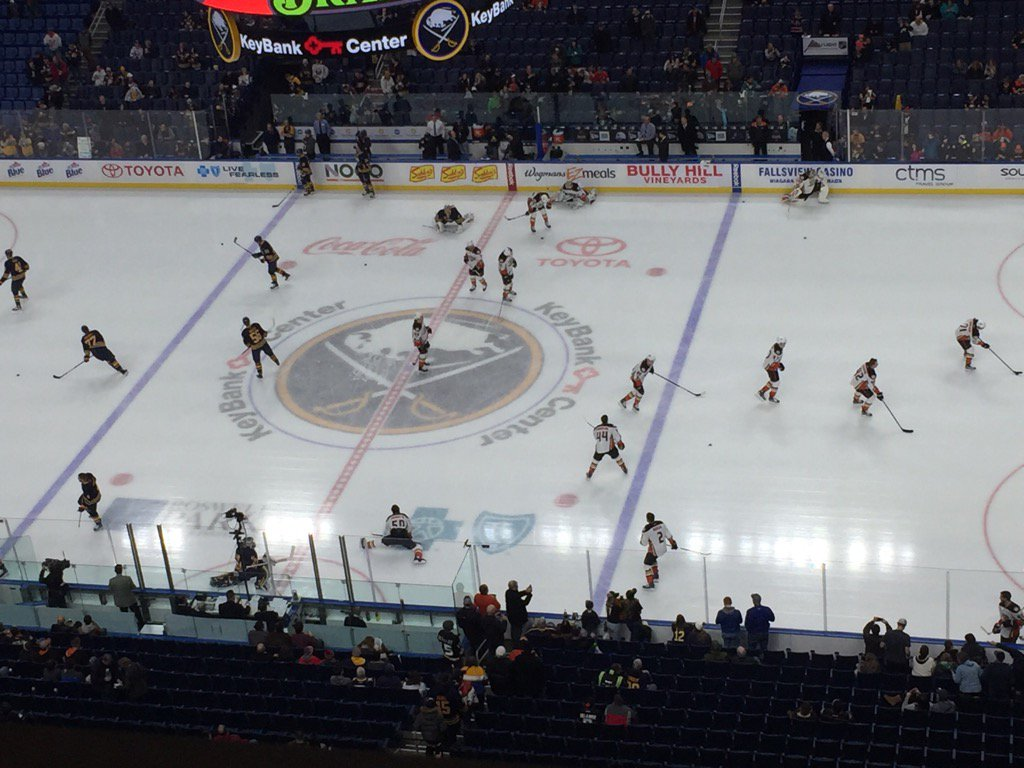The Sabres and Ducks warm up in KeyBank Center (Mike Harrington/Buffalo News).