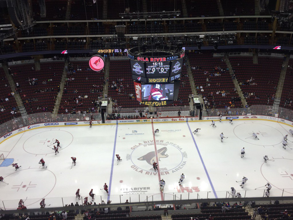 The Sabres and Coyotes warm up in Gila River Arena (Mike Harrington/Buffalo News).