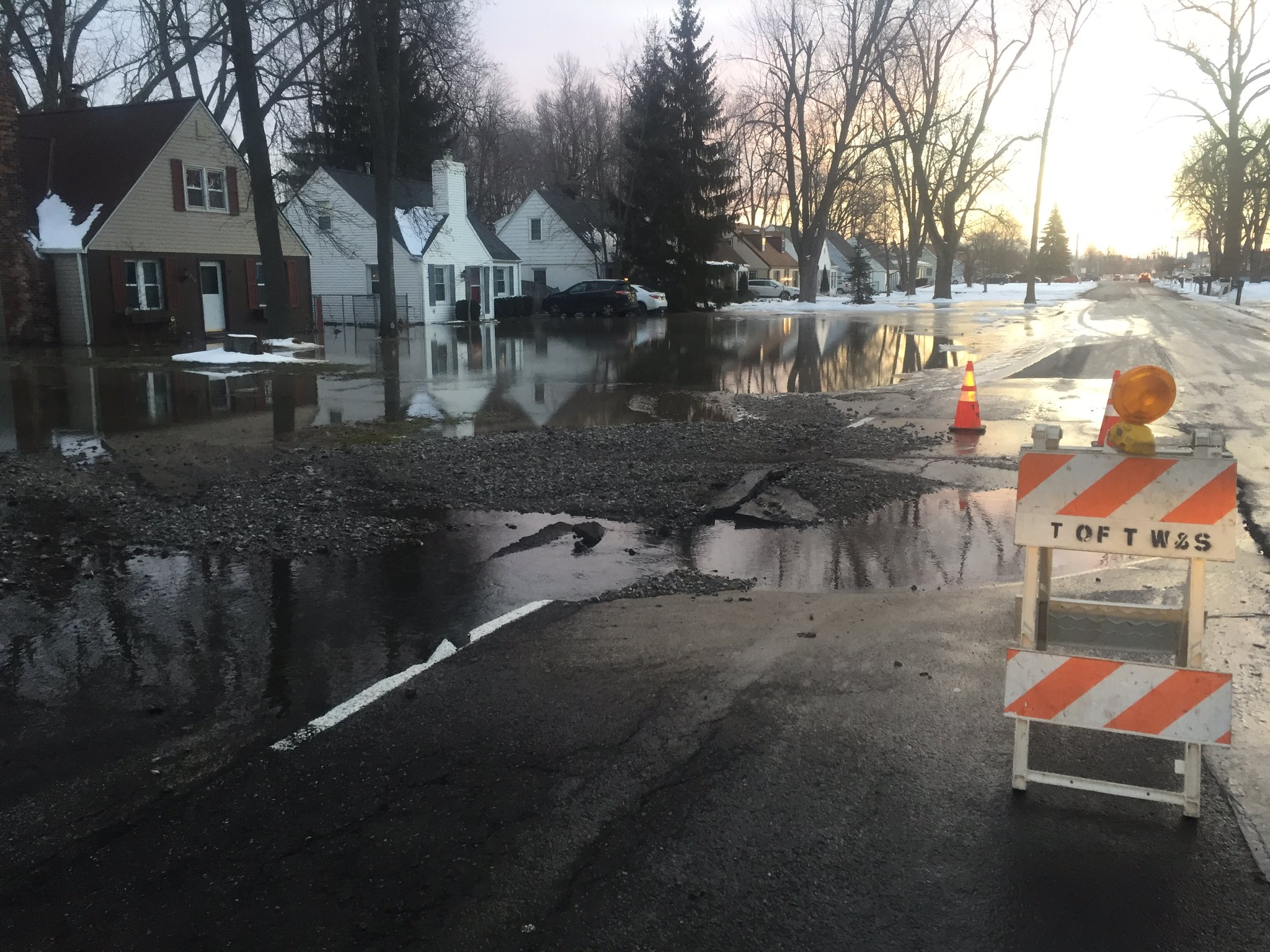 Preventing water main breaks, like this one in the Town of Tonawanda, will be part of the job for the next executive director of the Erie County Water Authority. (John Hickey/Buffalo News)