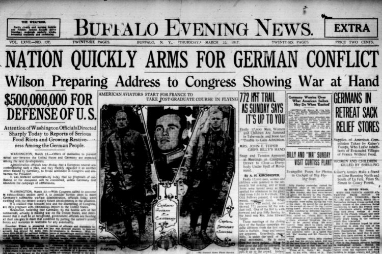Front page, March 22, 1917: Wilson prepares 'war address' to Congress