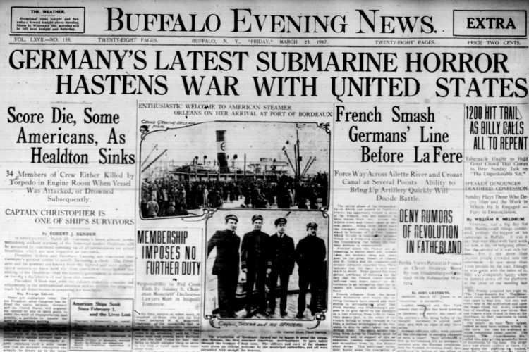Front page, March 23, 1917: Latest 'submarine horror' may hasten U.S. entry to WWI