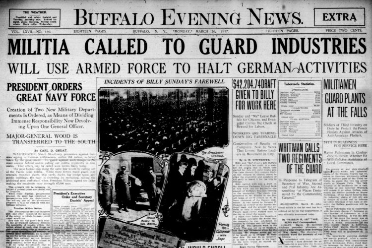 Front page, March 26, 1917: Soldiers guard Niagara Falls power plants from German threat