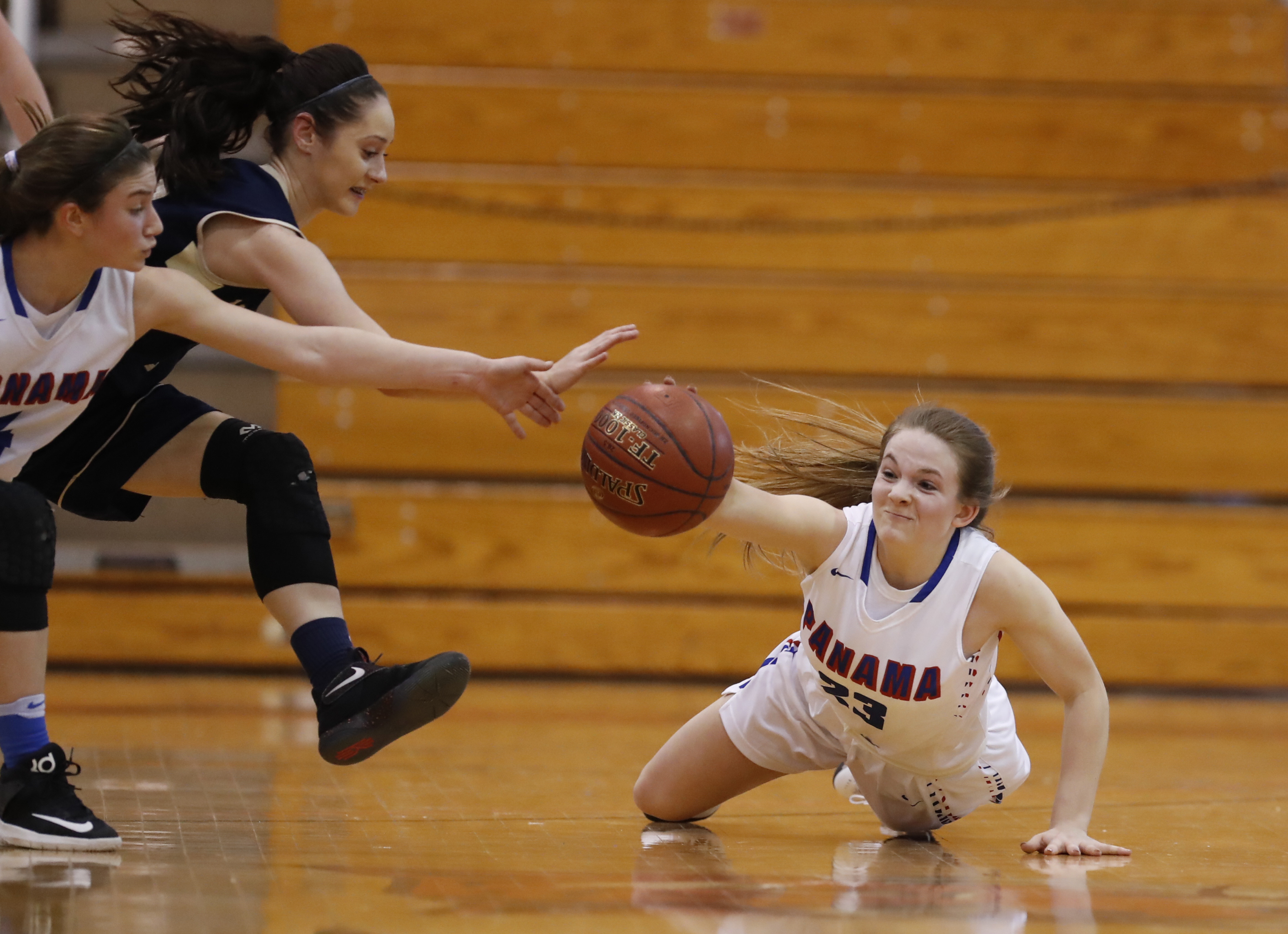 Panama's Madalyn Bowen dives for a loose ball against Batavia Notre Dame during the first half. (Harry Scull Jr./Buffalo News)