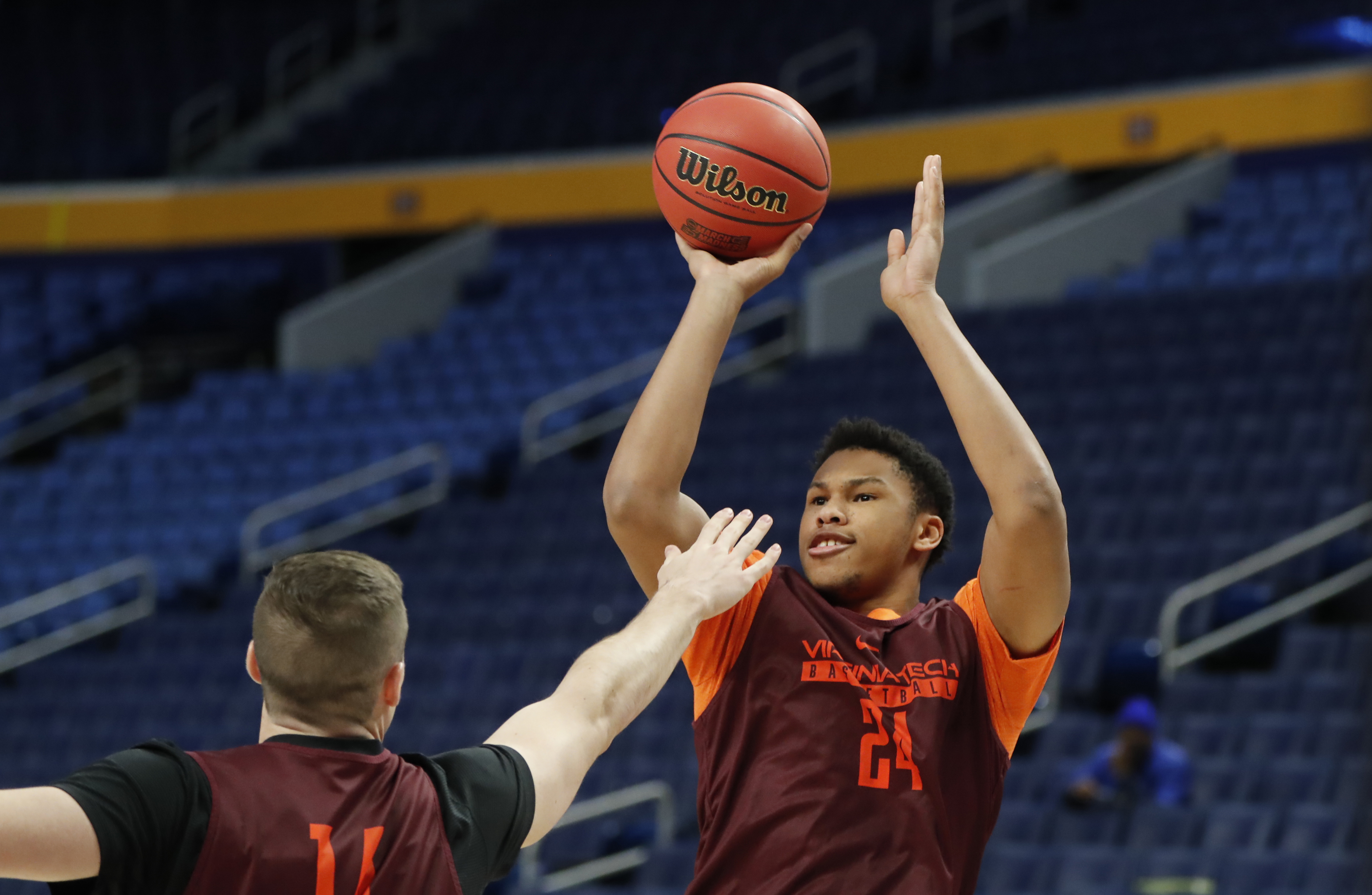 Kerry Blackshear Jr. and Virginia Tech will face a polar opposite in Wisconsin in KeyBank Center. (Harry Scull Jr./Buffalo News)