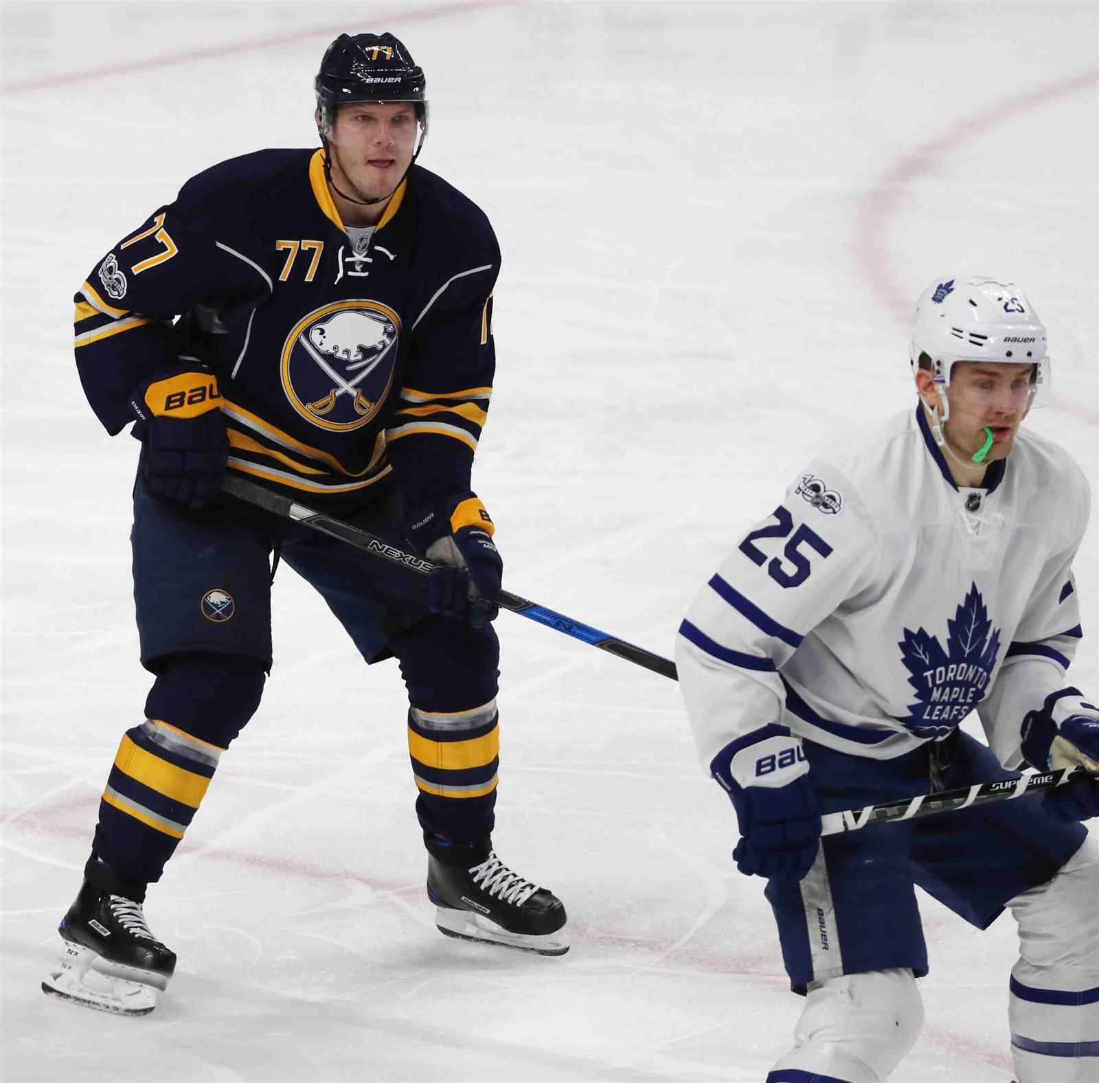 Sabres defenseman Dmitry Kulikov doubled his season output against James van Riemsdyk and the Maple Leafs. (James P. McCoy)