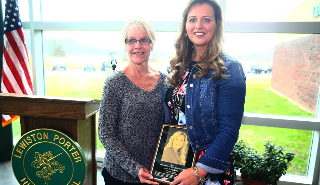 Parent Jennie Welder, left, who nominated Lew-Port special education teacher Ashli Dreher for the National Teachers Hall of Fame, calls her 'an angel.' (John Hickey/Buffalo News)