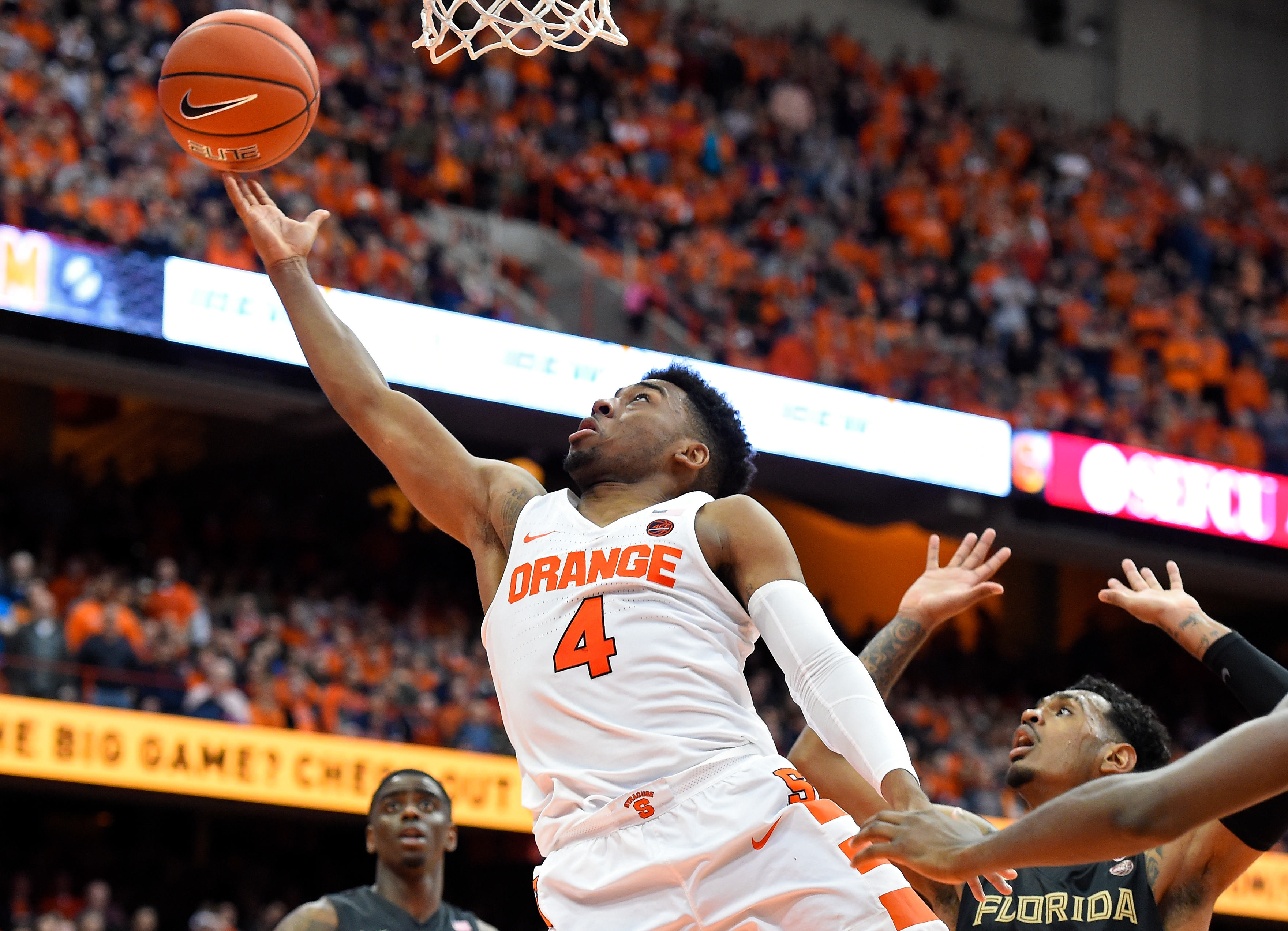 John Gillon of the Syracuse Orange shoots against the Florida State Seminoles on Jan. 28, 2017, at the Carrier Dome. SU defeated Florida State, 82-72. (Getty Images)