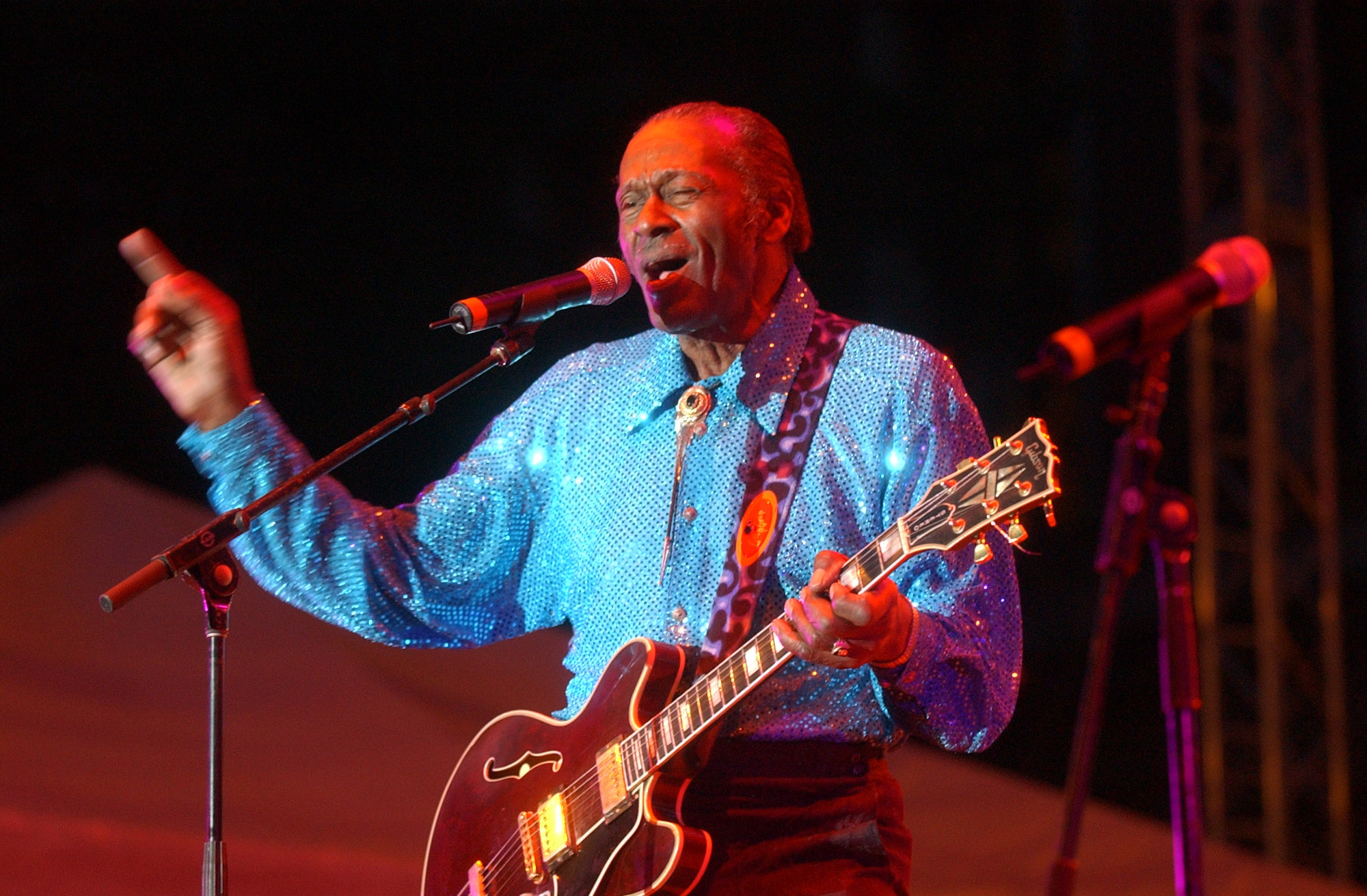 Chuck Berry performs at the Buffalo Bike Blast in Niagara Square in 2003.  (Derek Gee/Buffalo News file photo)