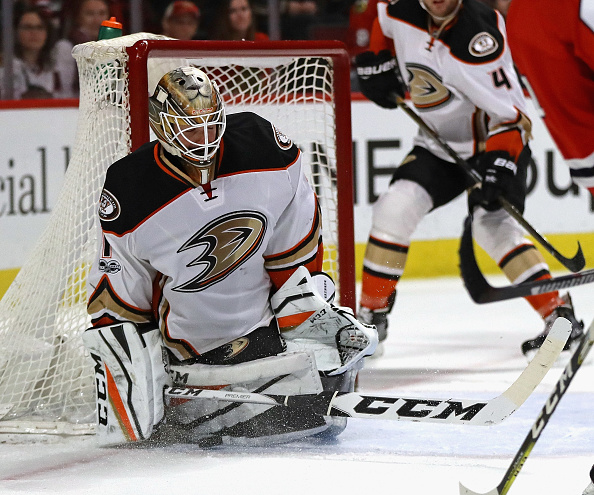 Ducks goalie Jonathan Bernier, who meets the Sabres tonight, makes one of his 43 saves in  1-0 win at Chicago on March 9 (Getty Images).