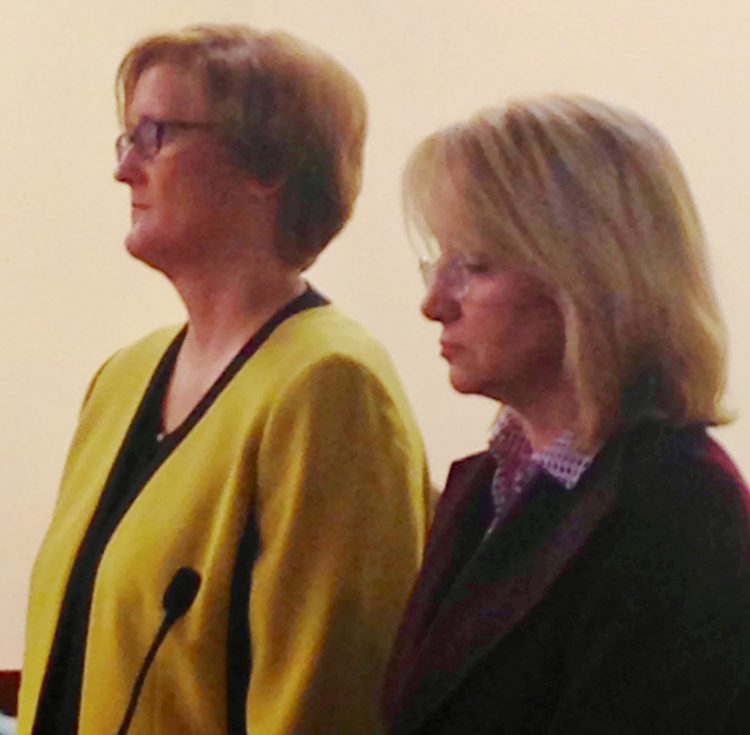 Billie B. Becker, right, admitted to stealing more than $4 million from her employer, Towne Automotive group. With her is attorney Cheryl Meyers Buth.