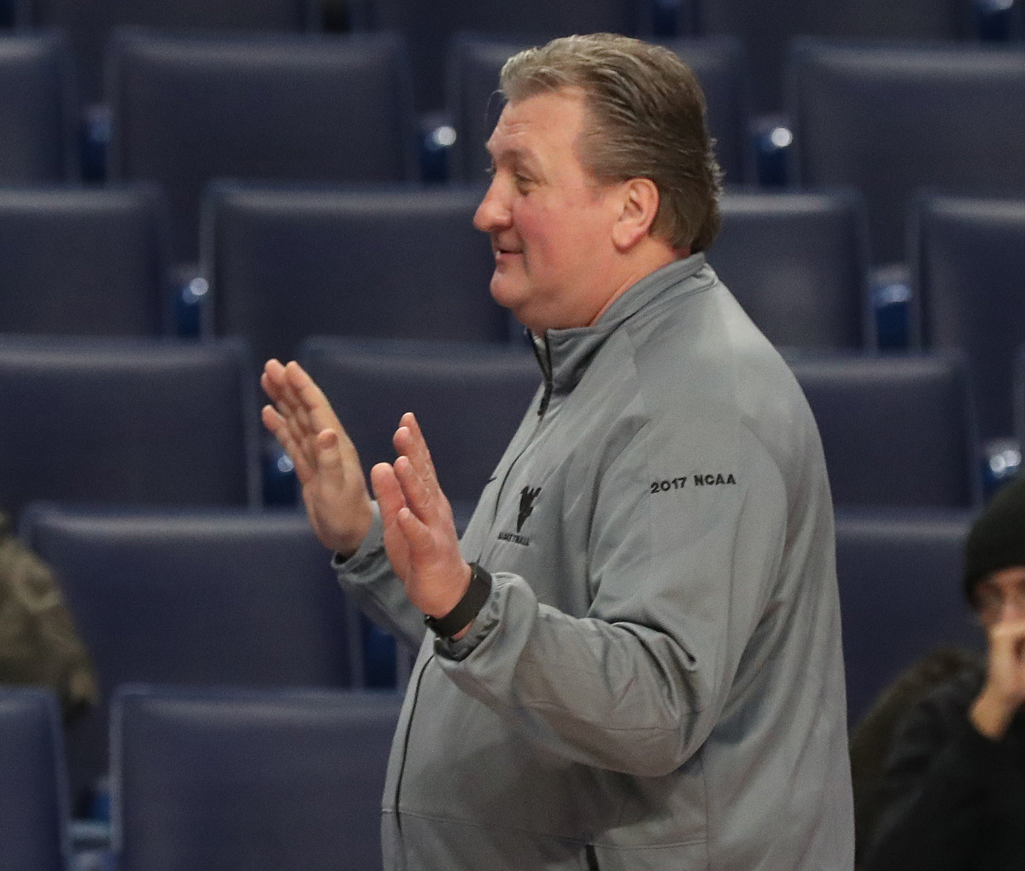 Bob Huggins during West Virginia's shootaround Wednesday. (James P. McCoy/Buffalo News)