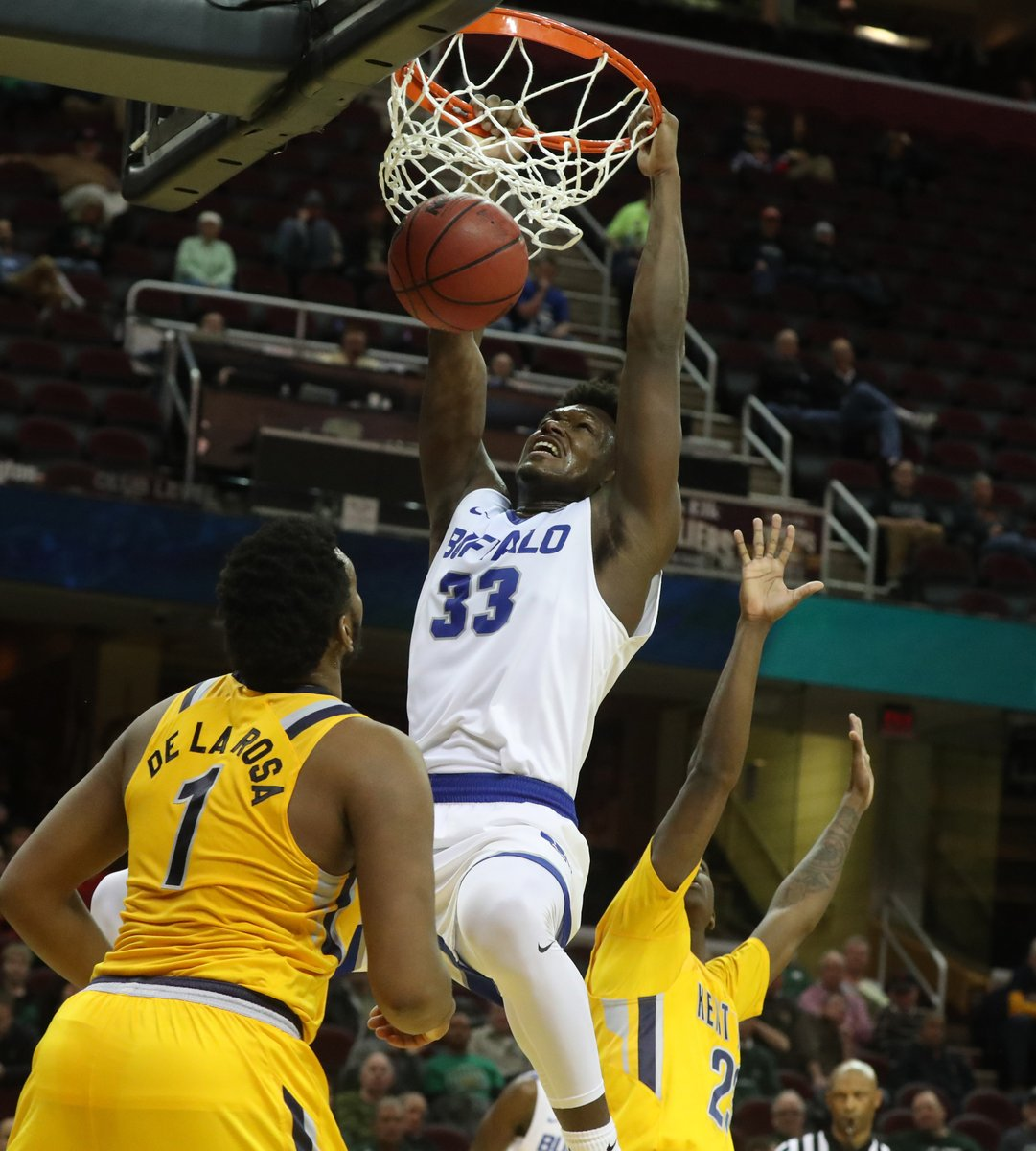UB's Nick Perkins dunks vs. Kent State. (James P. McCoy/Buffalo News)