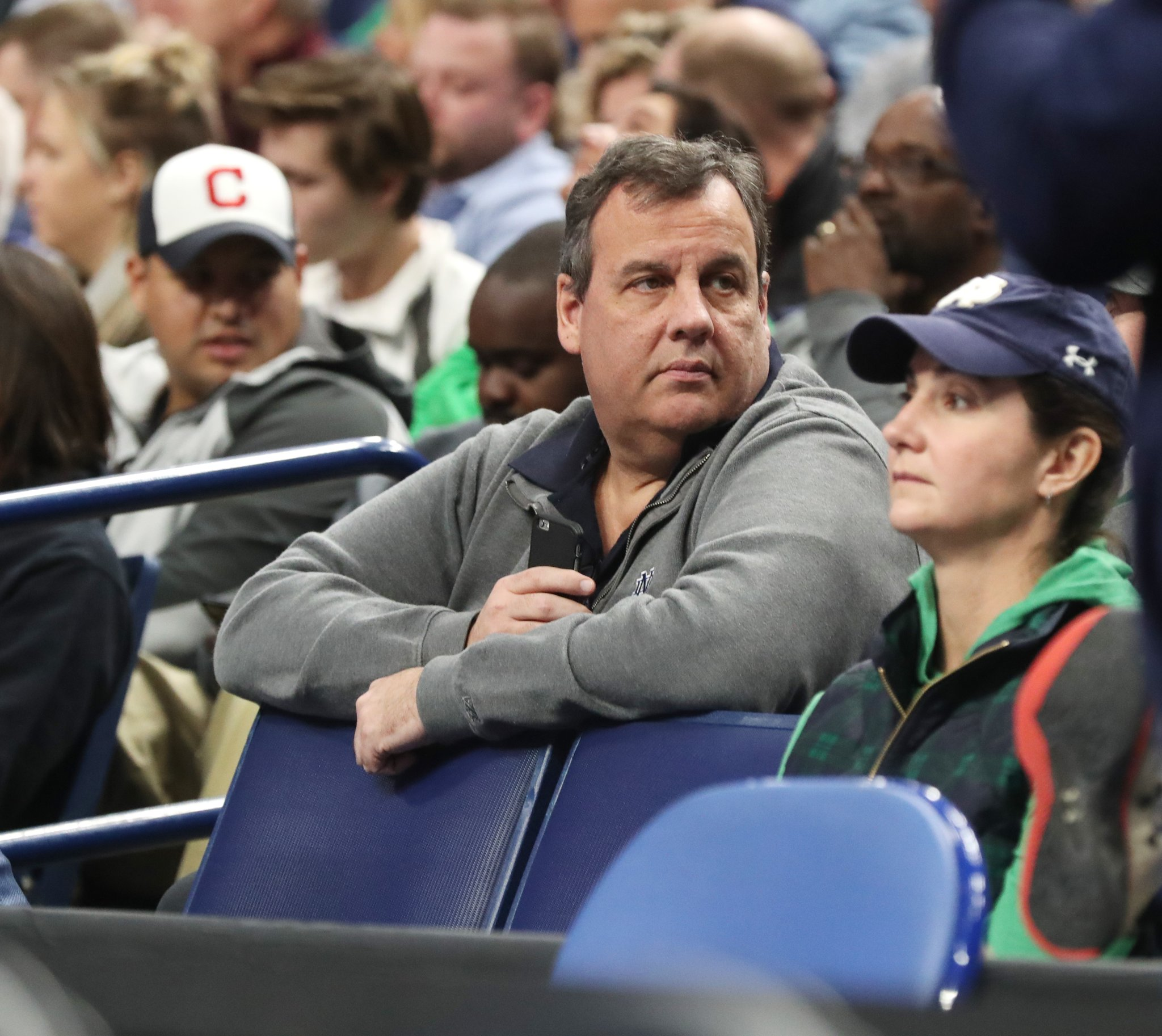 New Jersey Gov. Chris Christie knows his Notre Dame hoops. (James P. McCoy/Buffalo News)
