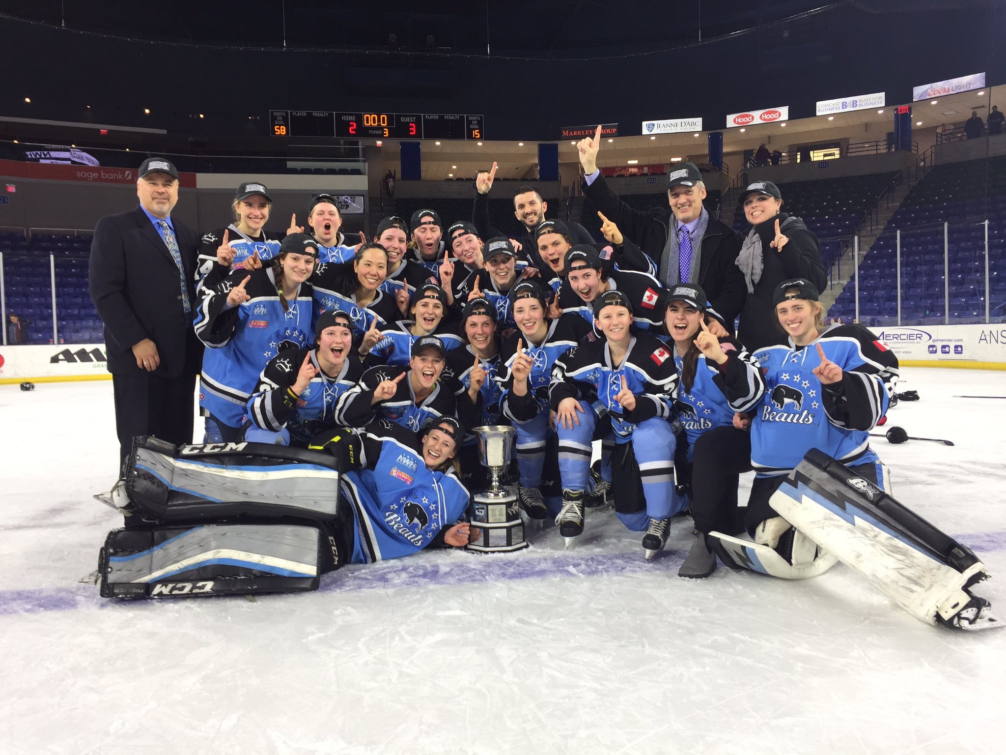 The Buffalo Beauts knocked off the Boston Pride, 3-2, to win the Isobel Cup. (Photo via the Buffalo Beauts)