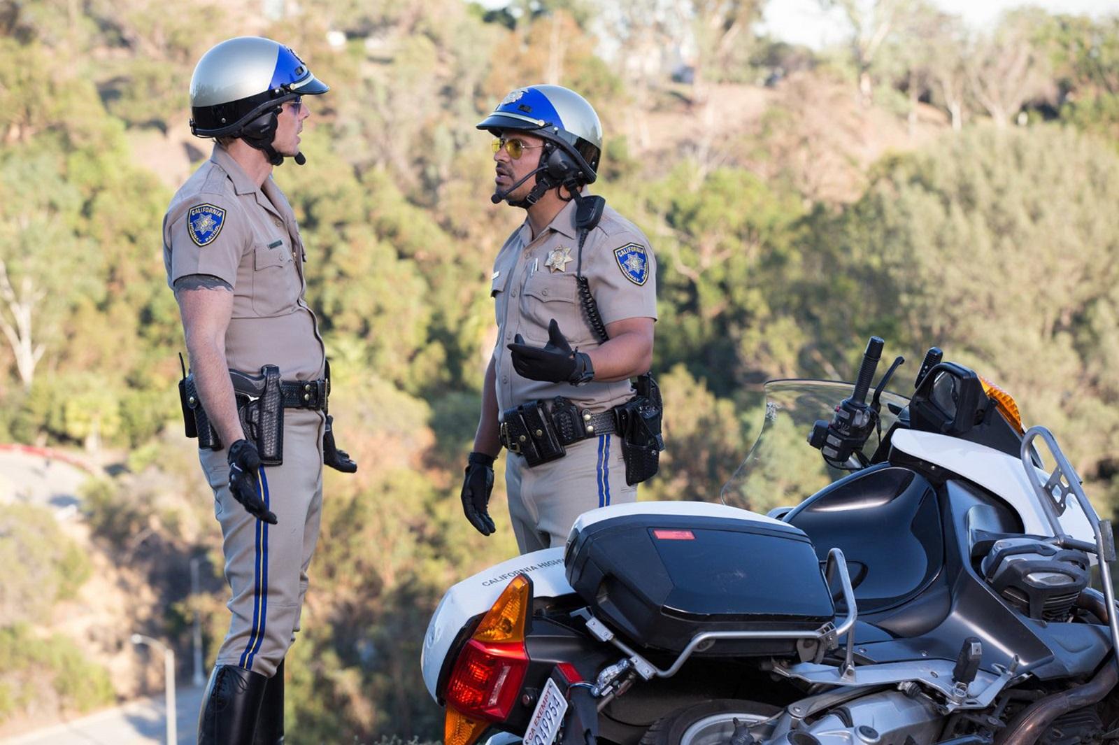 Michael Pena and Dax Shepard in 'CHIPS.' (Warner Bros.)
