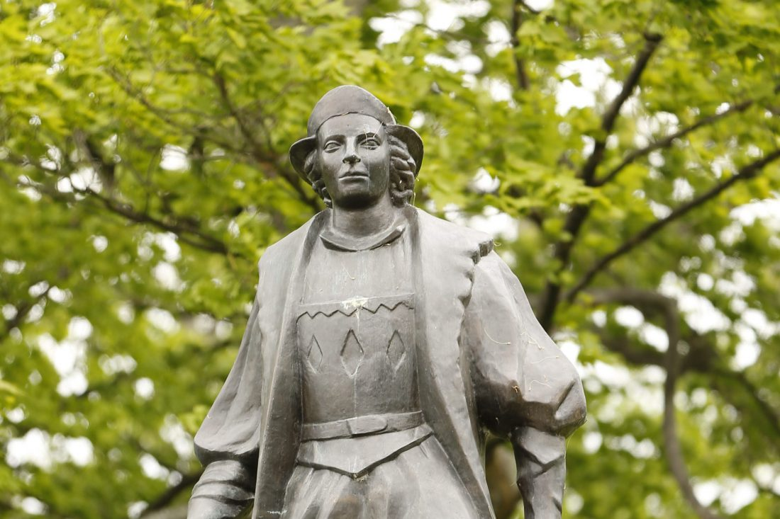 A statue of Christopher Columbus in Columbus Park in Buffalo on May 19, 2015. (Derek Gee/Buffalo News file photo)