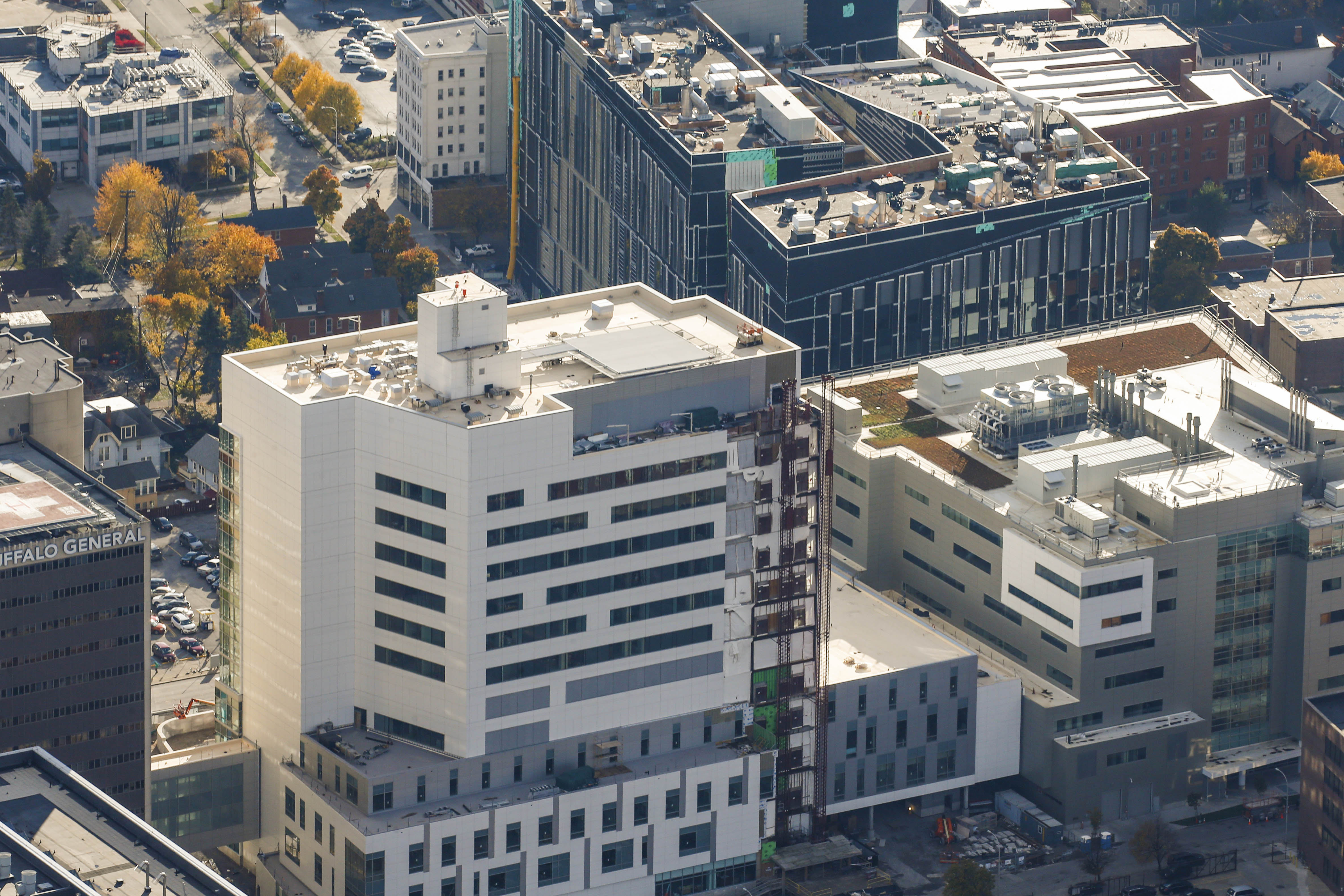 Conventus, at right, connects with both Oishei Children's Hospital, left, and UB's Medical School, top. (Derek Gee/Buffalo News file photo)