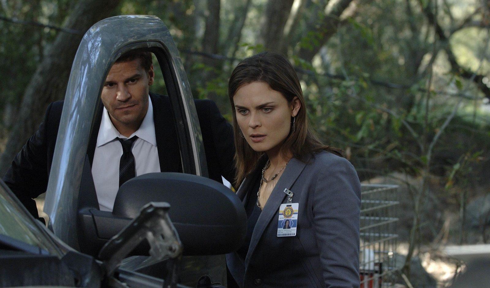 Booth (David Boreanaz) and Brennan (Emily Deschanel) from a 2008 episode of 'Bones.'
