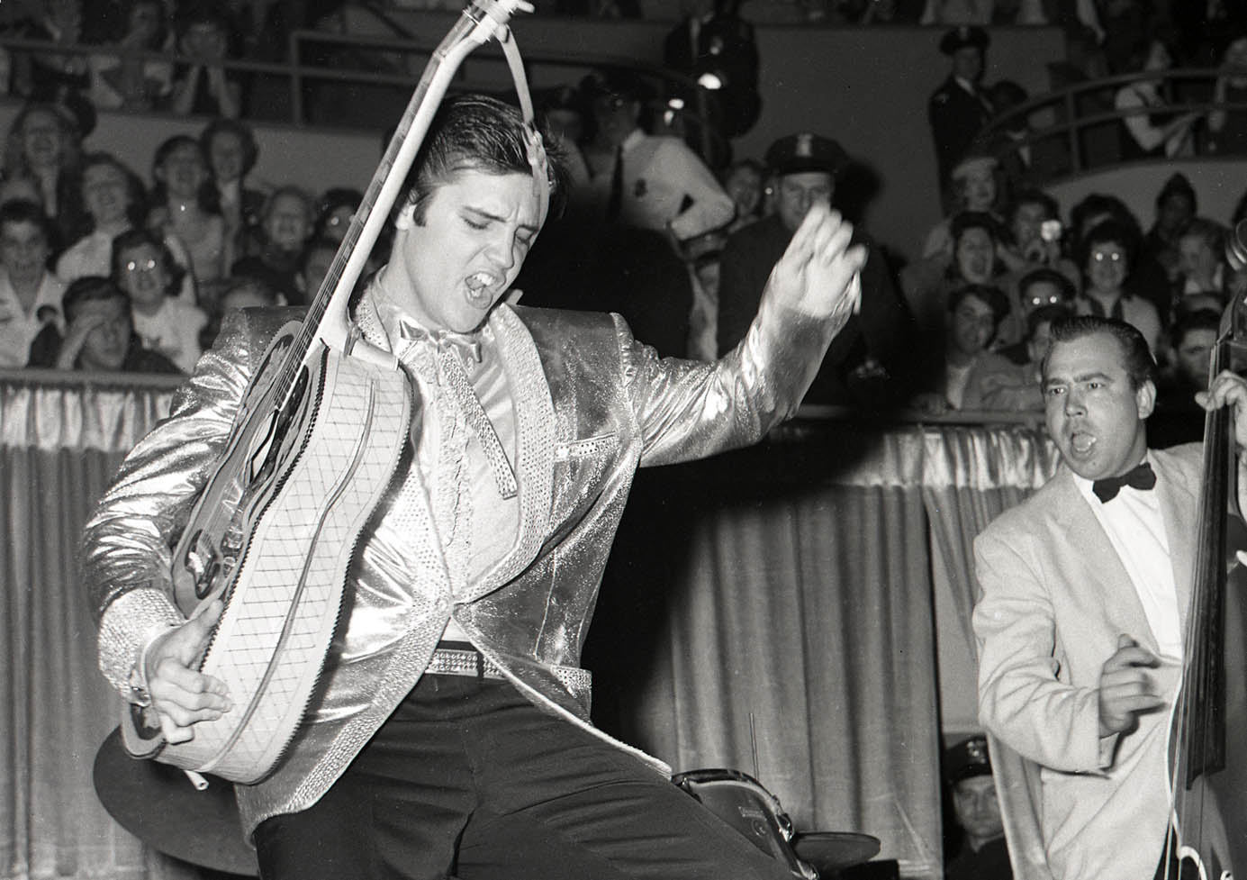 Robert L. Smith, a photographer for the Buffalo Evening News, captured this famous photo of Elvis Presley performing on April 1, 1957, in Buffalo's Memorial Auditorium.