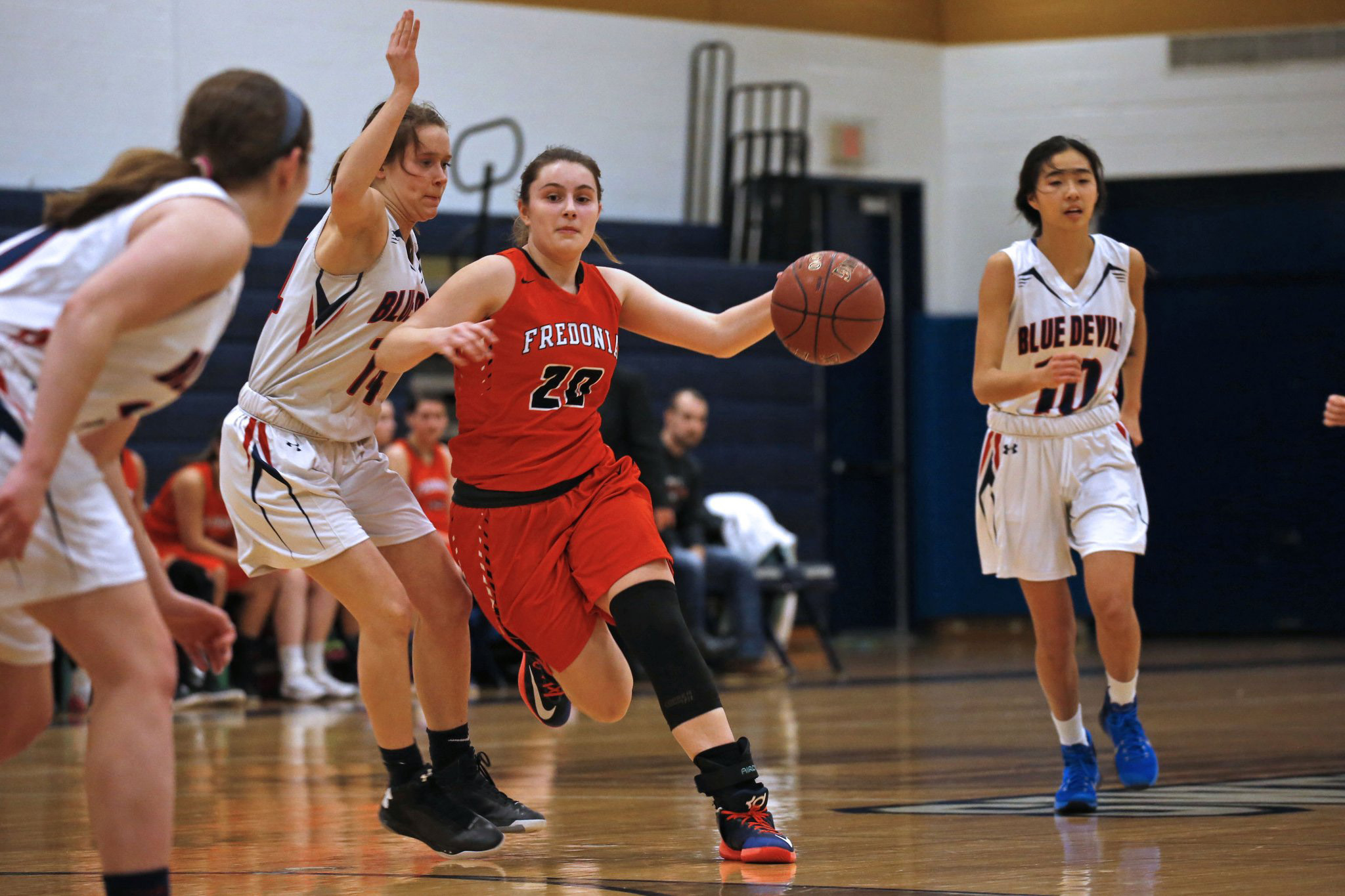 Fredonia's Katie Price drives to the basket against East Aurora during Thursday's Section VI Class B-1 semifinal. Fredonia advanced as Price finished with nine points. (Robert Kirkham/Buffalo News)