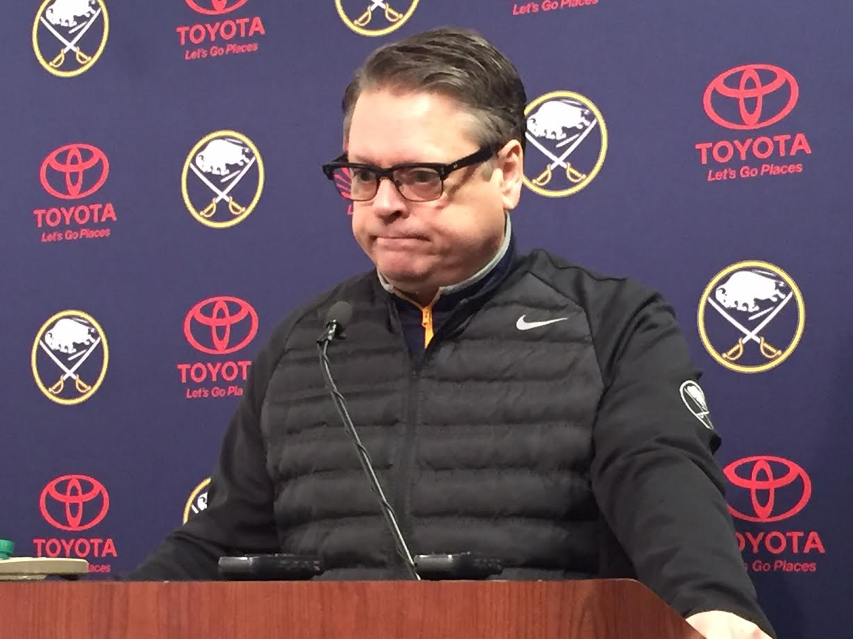 Tim Murray was perplexed as he met reporters Wednesday in KeyBank Center (Mike Harrington/Buffalo News).