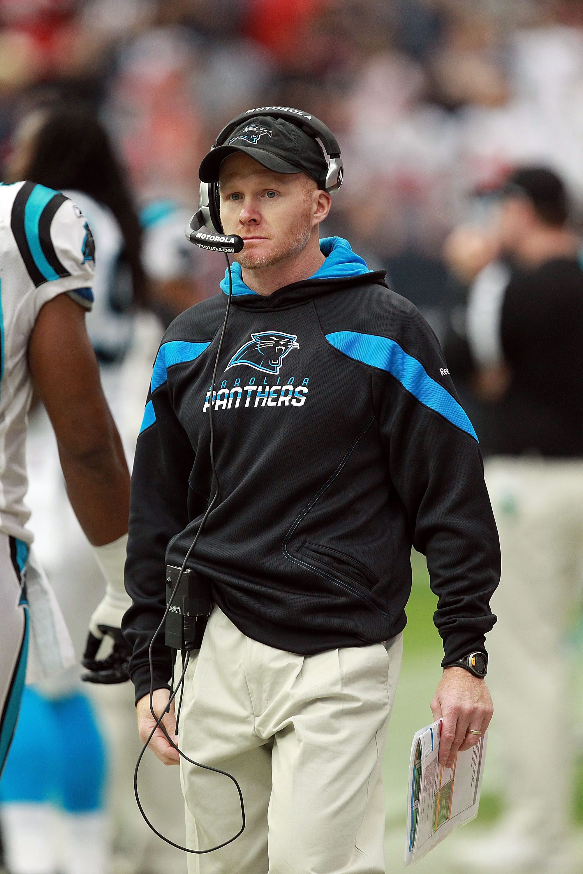 Bills coach Sean McDermott built dominant defenses with the Carolina Panthers. (Photo by Ronald Martinez/Getty Images)