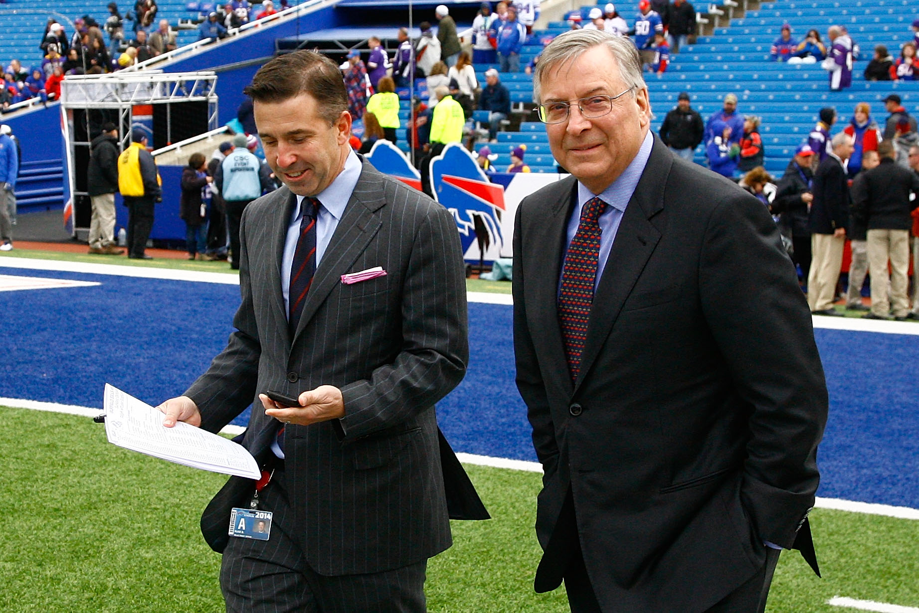 Terry Pegula, right, and Russ Brandon, president of Pegula Sports and Entertainment, have sought improvements to Rochester's arena. (Getty Images)