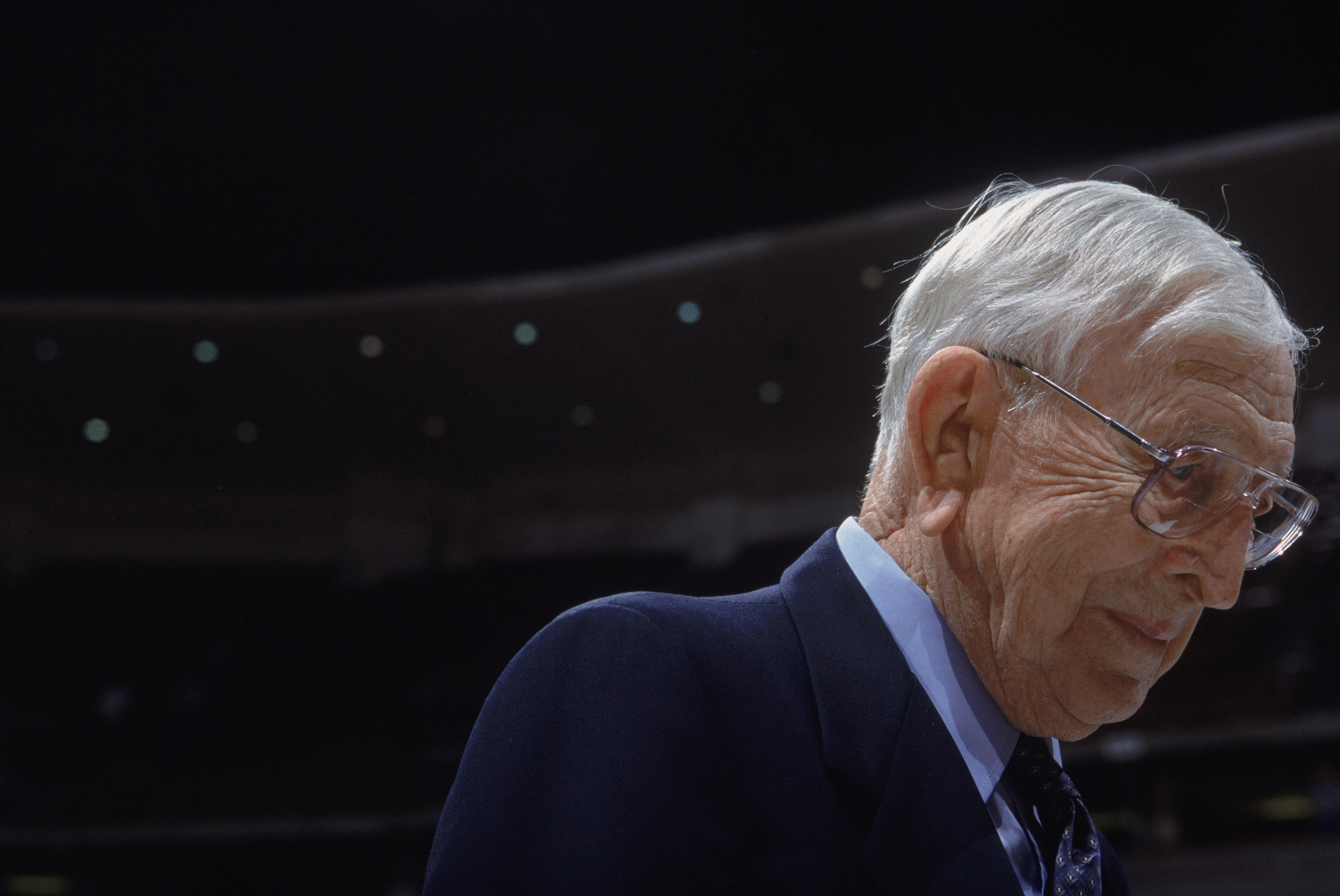 John Wooden in 2001. (Adam Pretty/Allsport)